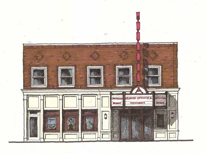 A rendering of the planned new facade of the Antioch Theatre