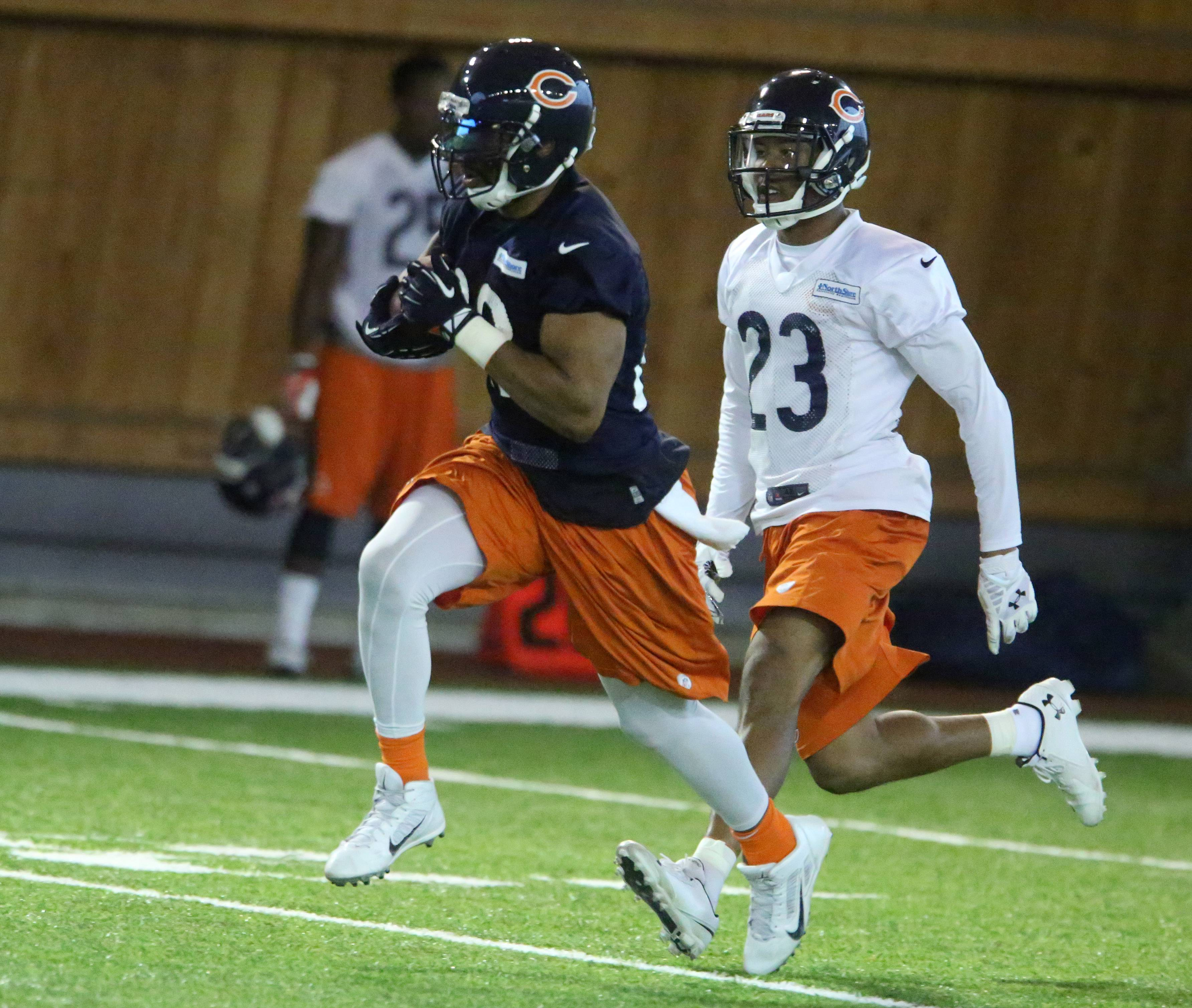 Rookie cornerback Kyle Fuller, here chasing down running back Matt Forte during minicamp in June, has been getting valuable time with the first team as starter Tim Jennings recovers from a quad injury.
