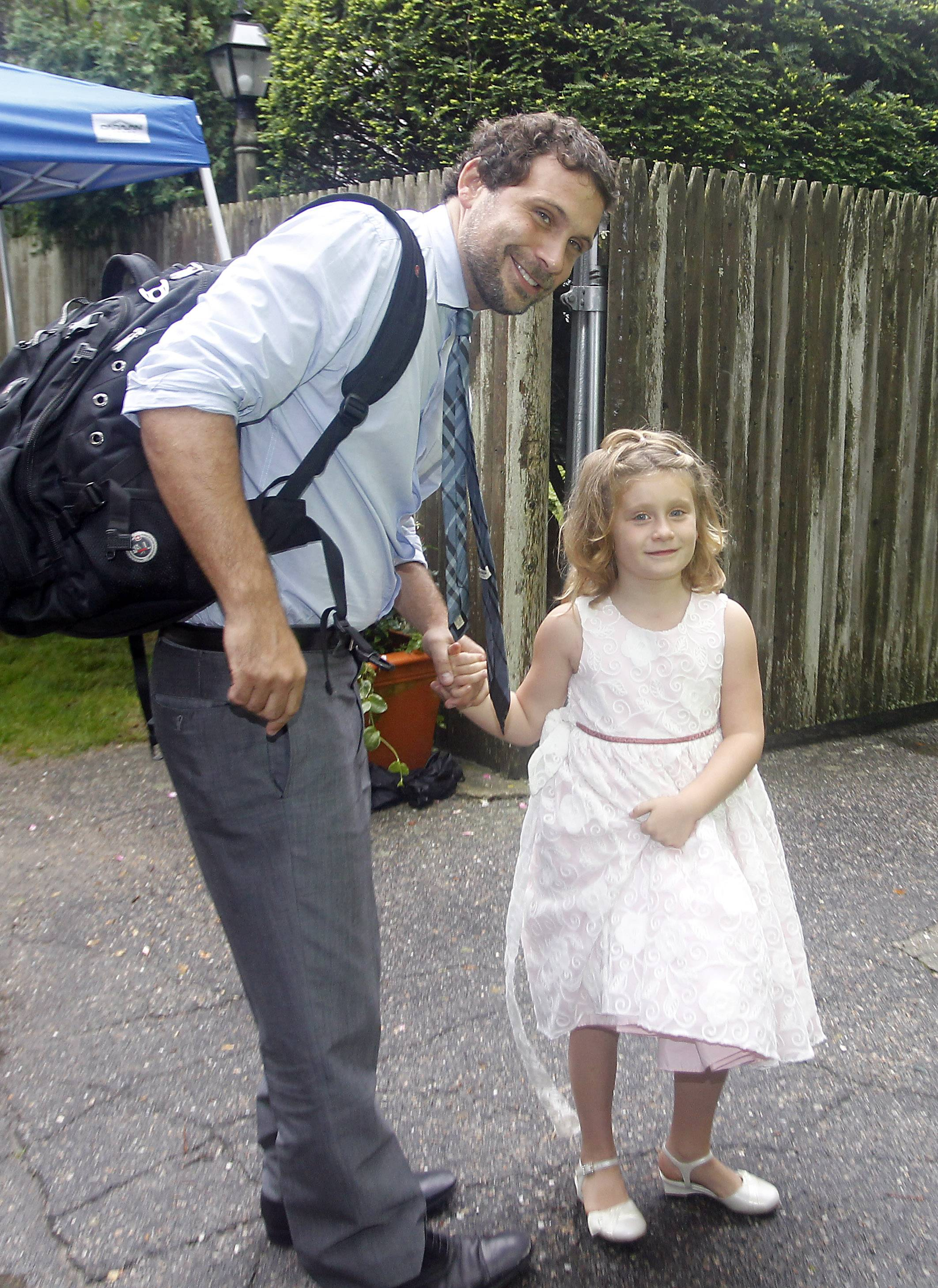 """Suburgatory"" actor Jeremy Sisto arrives with his daughter, Charlie Ballerina, on Saturday at the Kennedy Compound in Hyannis Port, Mass. for the wedding of Robert F. Kennedy Jr., and actress Cheryl Hines."