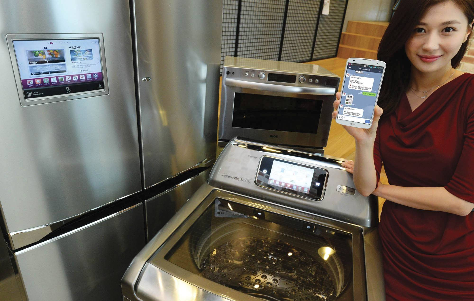 LG's 'HomeChat' makes it possible to communicate with appliances via text message.