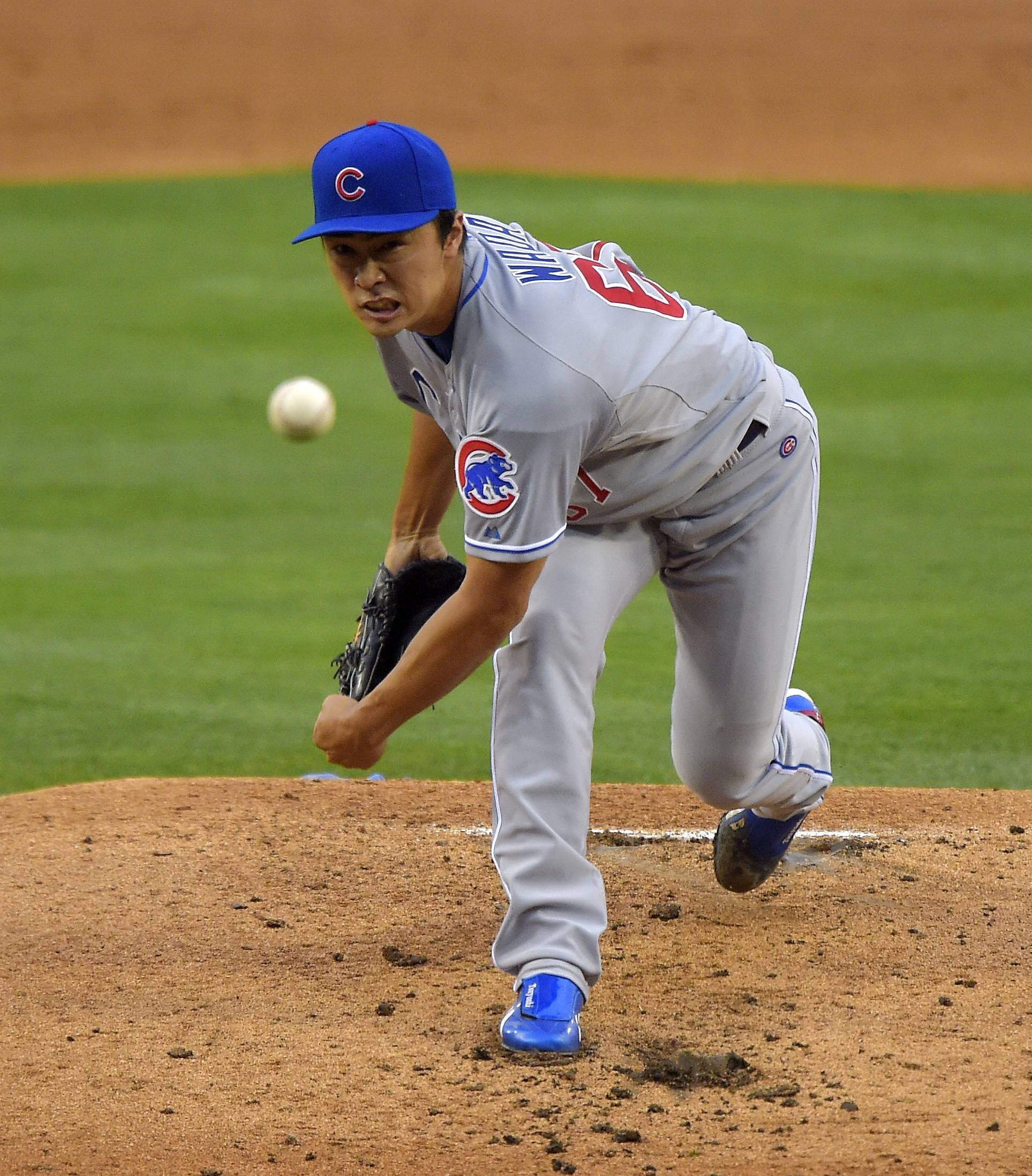 Cubs pitcher Tsuyoshi Wada started Saturday's game against the Dodgers in Los Angeles. The Cubs lost after a three-run homer in the 12th inning, 5-2.