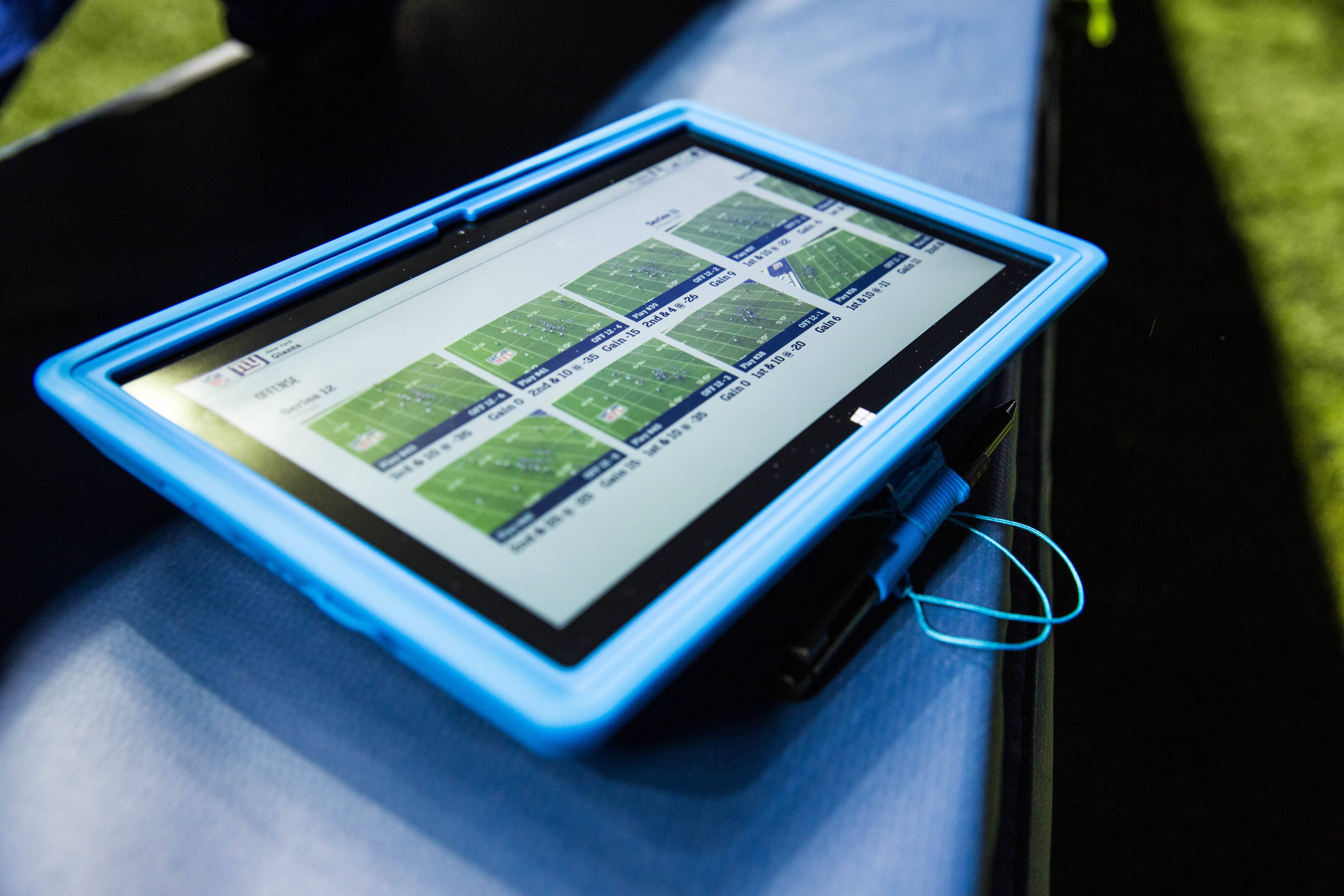 This undated photo provided by Microsoft shows Surface tablets that will be allowed for the first time on the sideline of NFL football games starting with Sunday's Hall of Fame game in Canton, Ohio, though they won't exactly be running the most cutting-edge apps.