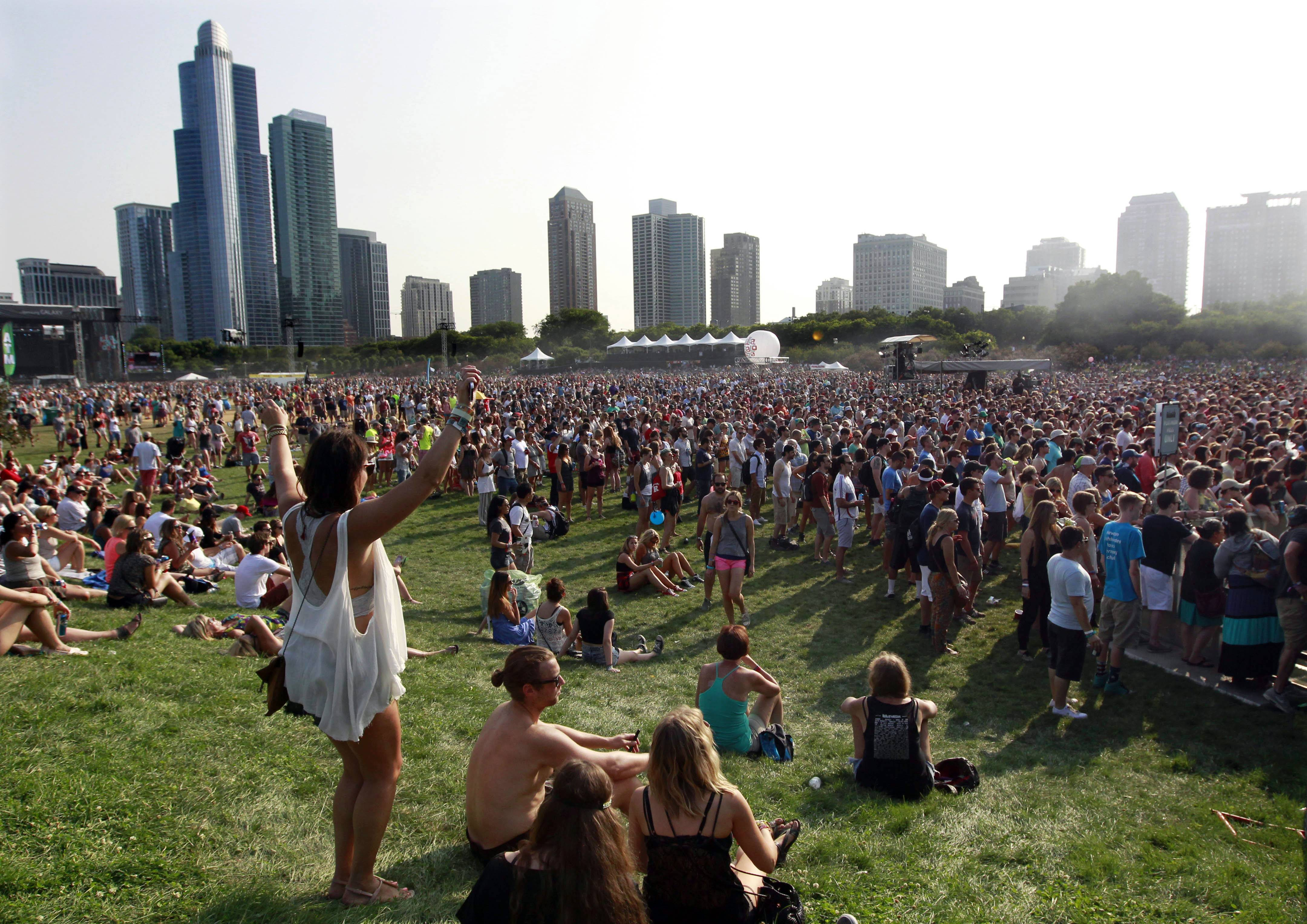 Fans listen to Manchester Orchestra on Saturday during the second day of Lollapalooza in Chicago.