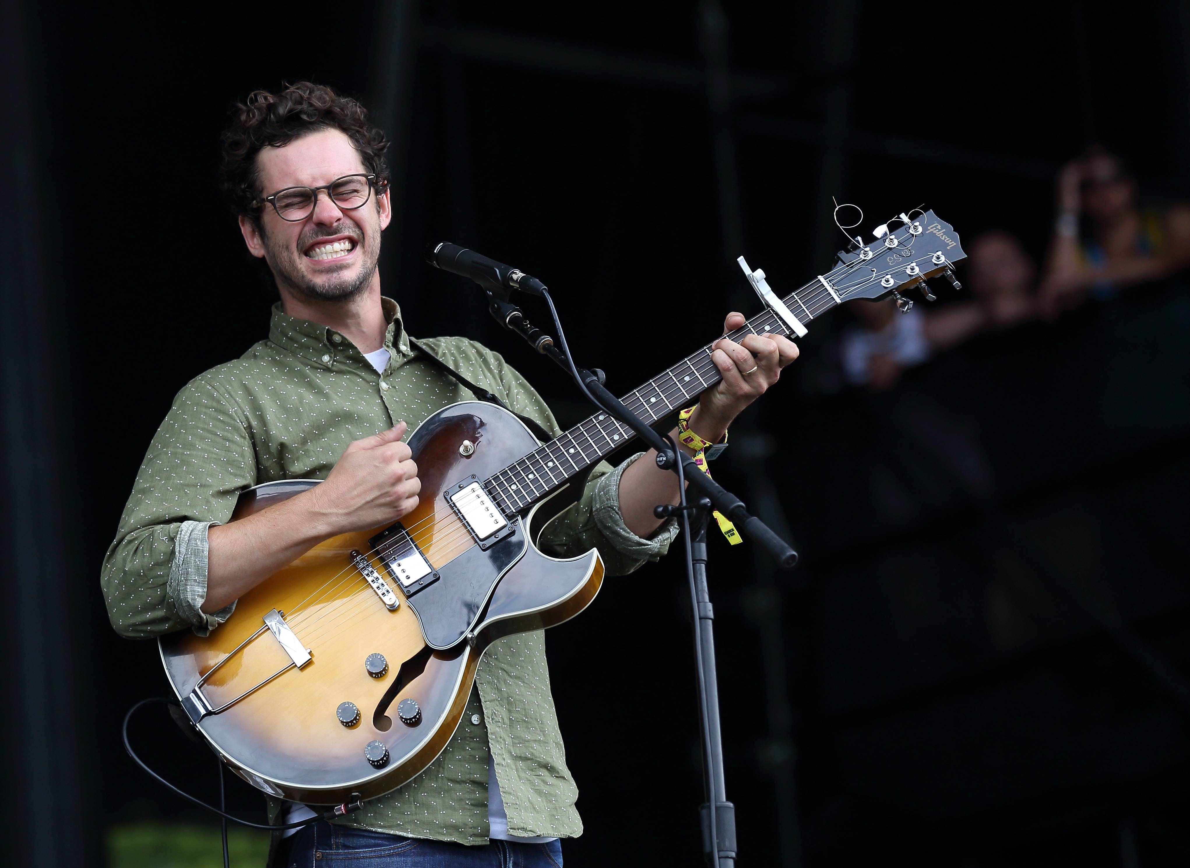 James Petralli of White Denim performs Sunday at Lollapalooza in Chicago's Grant Park.