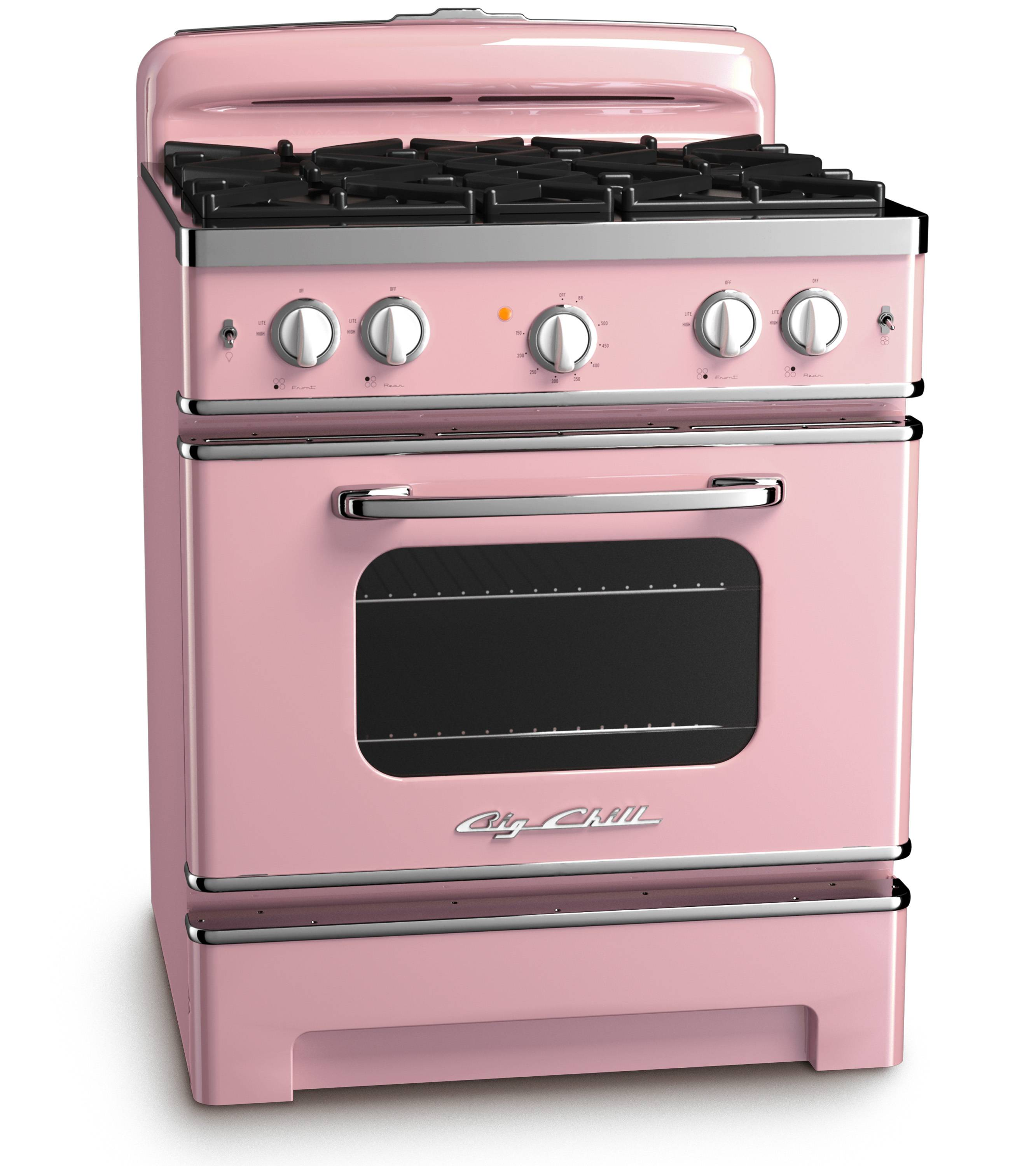 With strong color trending in kitchens, Big Chill's vibrant hues in fridges, ovens -- like this one in pink lemonade -- and range hoods hit the style mark. As a pop of color in an otherwise low key kitchen, or as part of an overall exuberant space, appliances like these, particularly with some retro details, stand out from the standard stainless offerings.