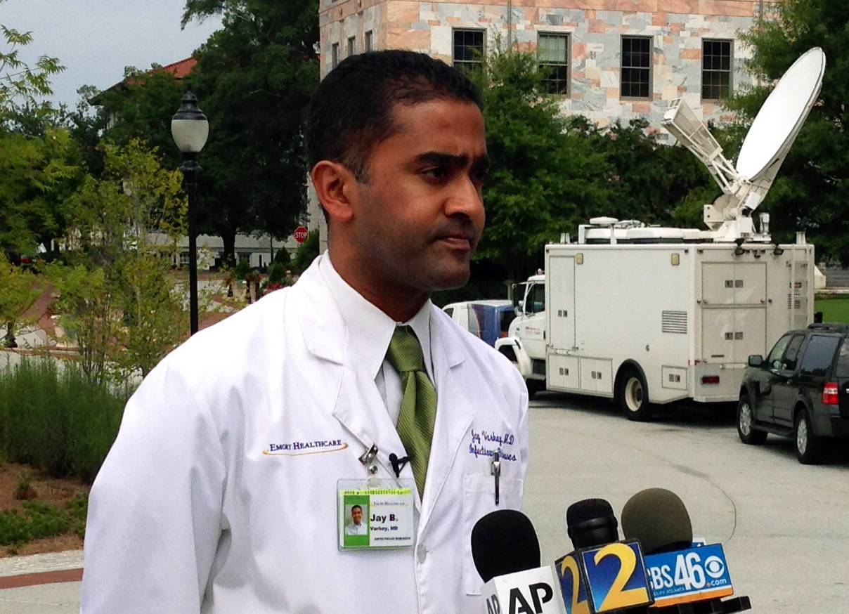 Dr. Jay Varkey, an infectious disease specialist at Emory Healthcare, speaks with reporters Saturday in Atlanta. Varkey is part of a team of doctors who will treat the two American aid workers infected with the Ebola virus. The workers will be treated at Emory University Hospital in Atlanta.