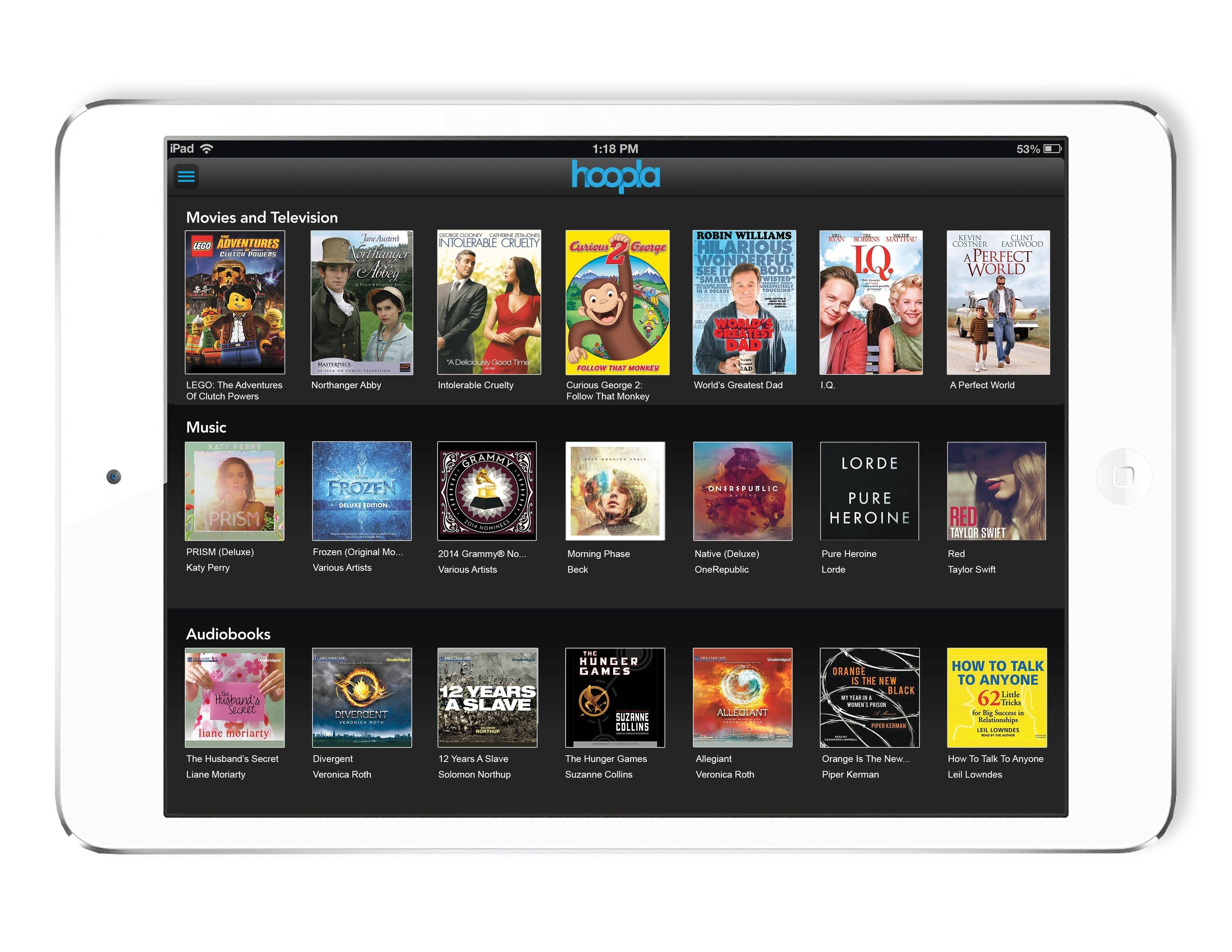 Hoopla Digital, a new streaming service for libraries, allows cardholders to stream or download movies, music and audiobooks for free.