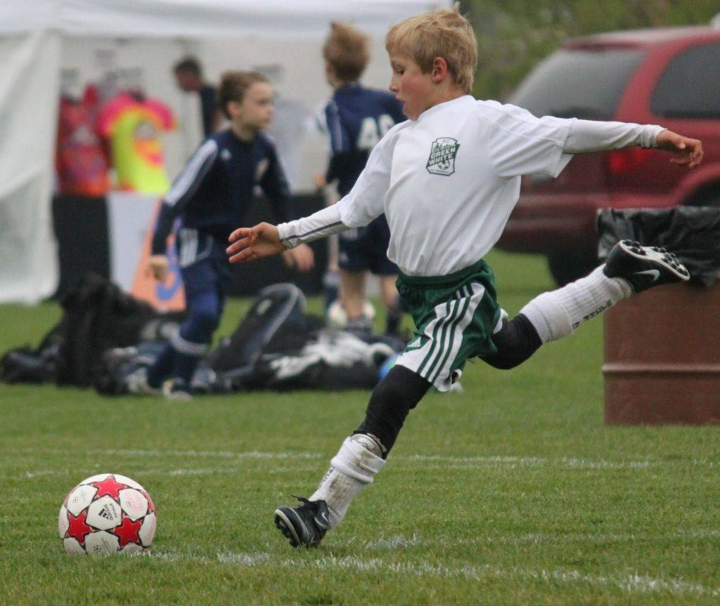 Green White Soccer Club player Aedon Wesselink approaches the ball during a recent game.