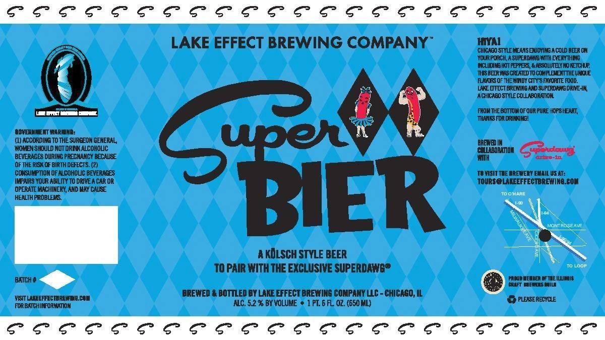 Here is the label of Superbier, the craft beer creation that can be sampled Thursday night at Superdawg's Wheeling location.