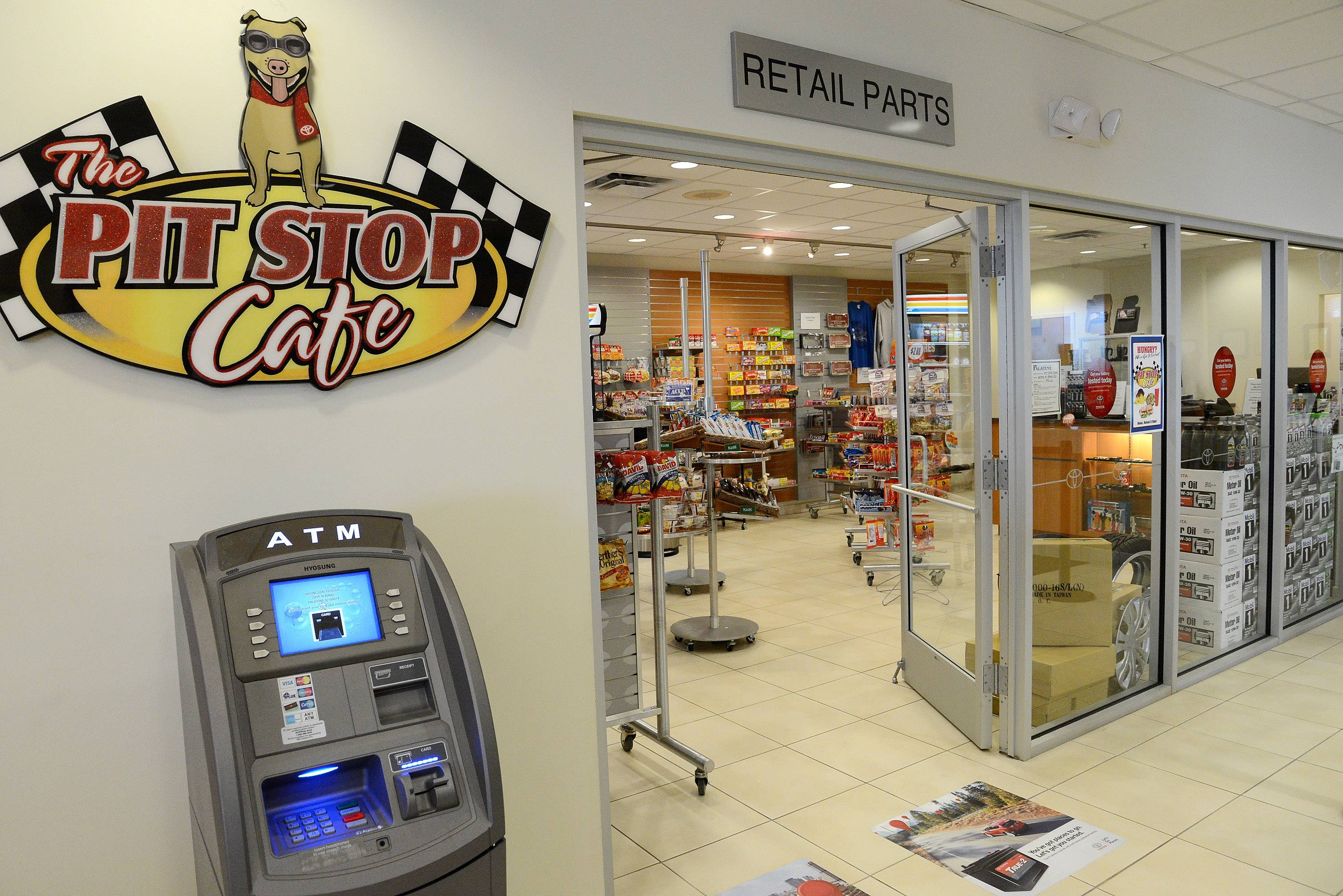 The Pit Stop Cafe is an auto minimart inside Arlington Toyota/Scion.