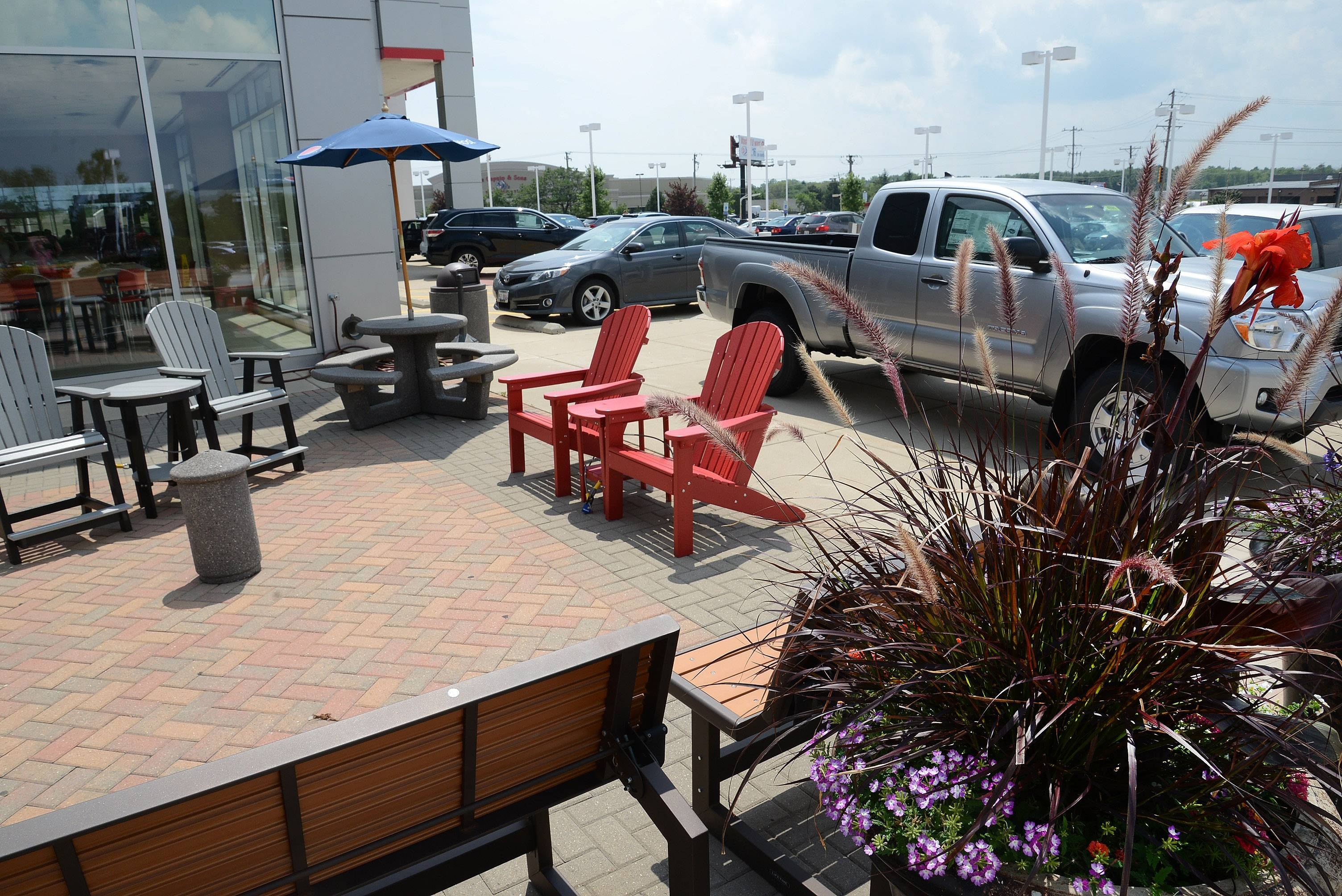 Gary Vicari places an emphasis on bringing conveniences to Arlington Toyota/Scion customers, including this outdoor waiting area.