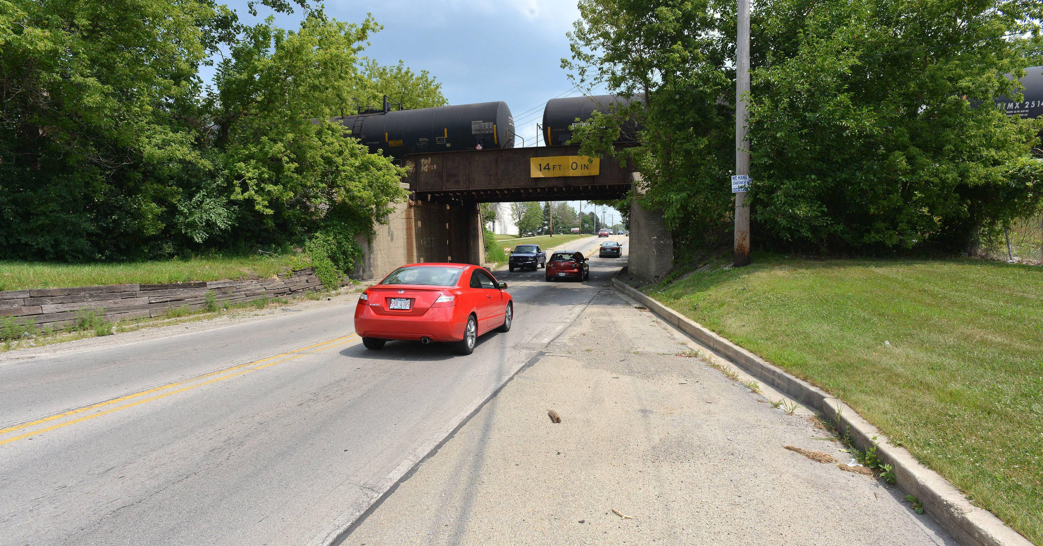Naperville wants to widen the North Aurora Road underpass at the Canadian National Railway to be two lanes in each direction. The city is seeking $5 million in federal surface transportation funding for the project.