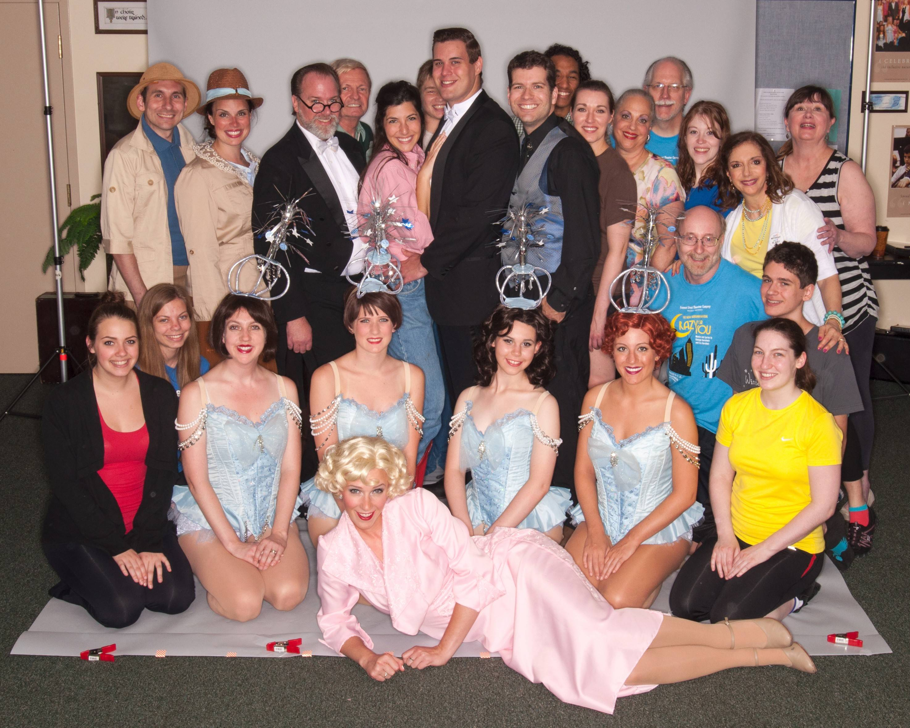 "The entire cast and crew of ""Crazy for You"" poses for a group shot."