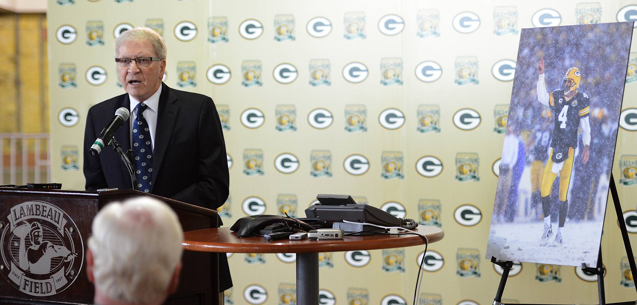 Former Green Bay Packers president/CEO Bob Harlan participates in the news conference announcing that the induction of Brett Favre into the Green Bay Packers Hall of Fame will take place July 18, 2015.
