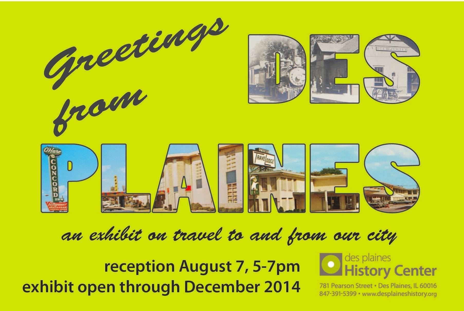 "The new Des Plaines History Center display, ""Greetings from Des Plaines,"" features various aspects of travel to and from Des Plaines as the town developed during the 19th and 20th centuries."