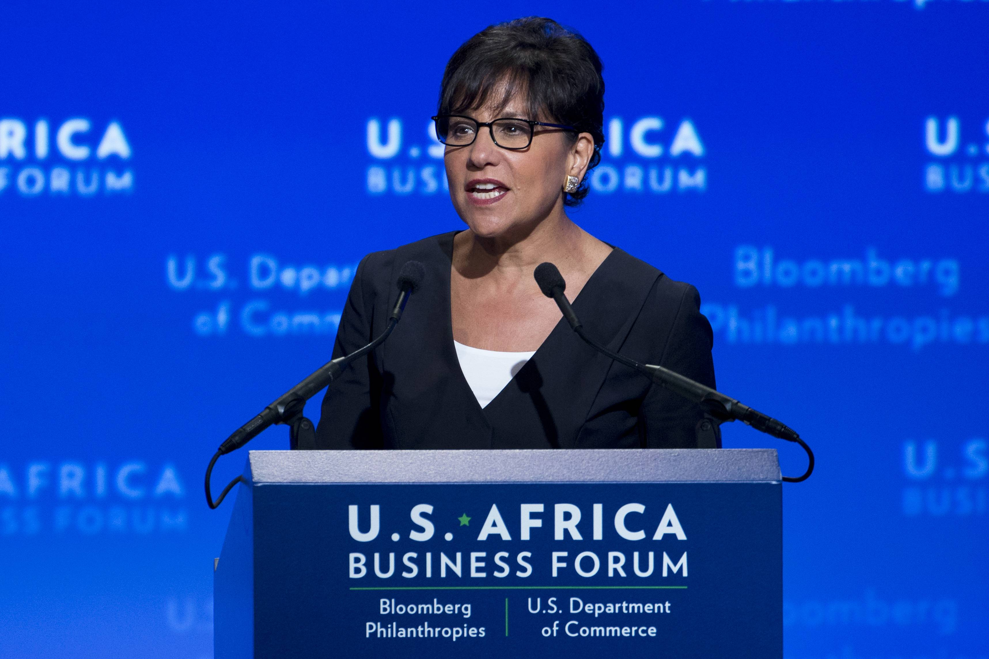 Commerce Secretary Penny Pritzker speaks at the beginning of the U.S.-Africa Business Forum during the U.S.-Africa Leaders Summit at the Mandarin Oriental Hotel in Washington, Tuesday, Aug. 5, 2014. Nearly 50 African heads of state are gathering in Washington for an unprecedented summit.