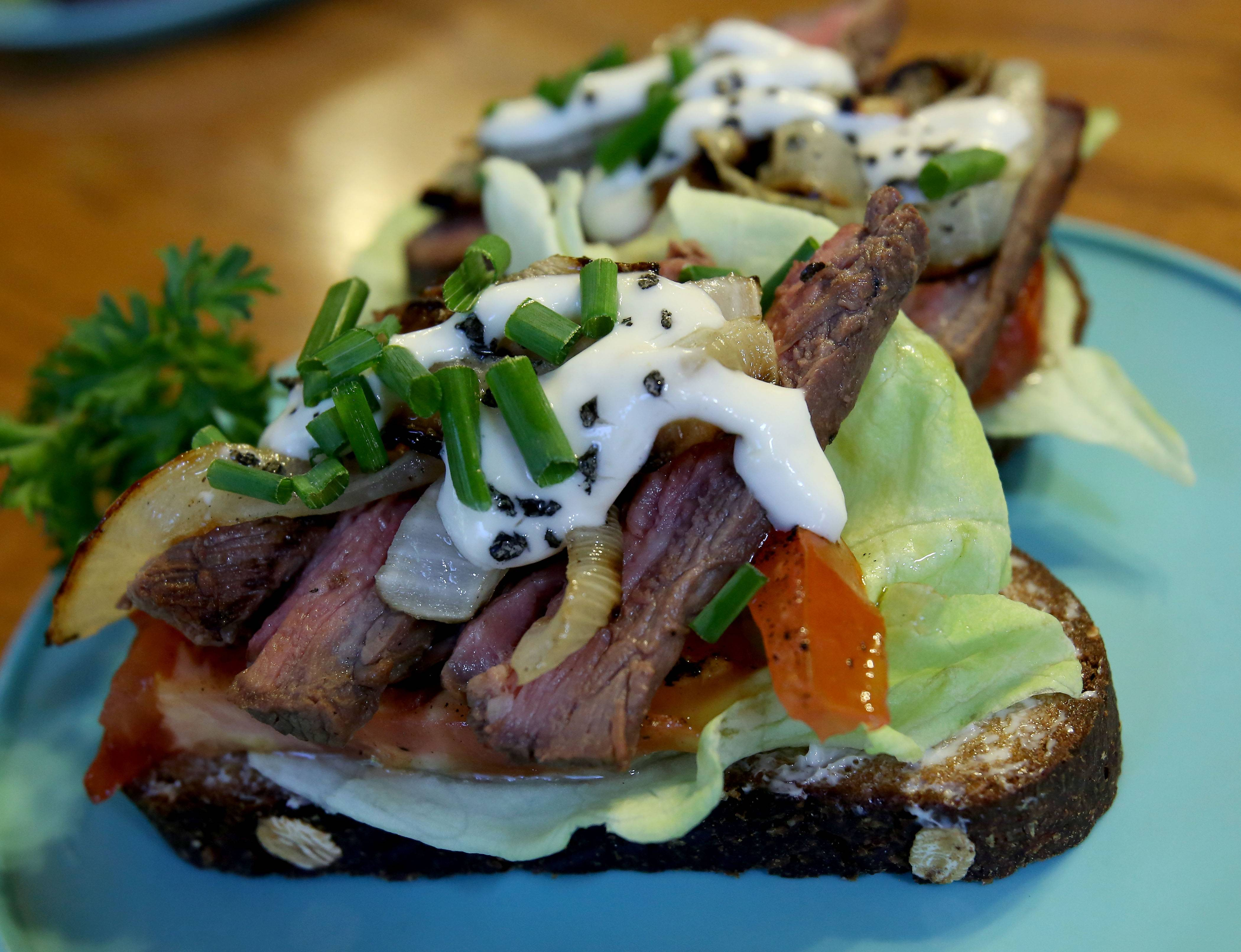 Steak Smushi is a modern version of a Danish sandwich.