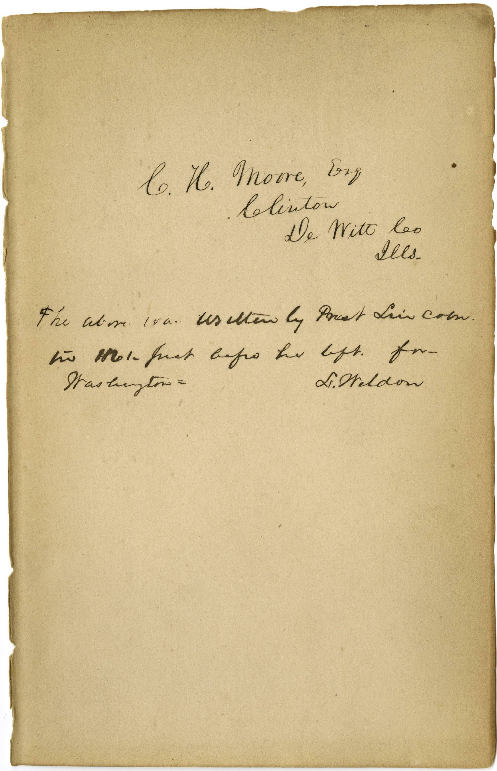 "Experts say this is Abraham Lincoln's handwriting inside a tattered copy of ""Types of Mankind."""