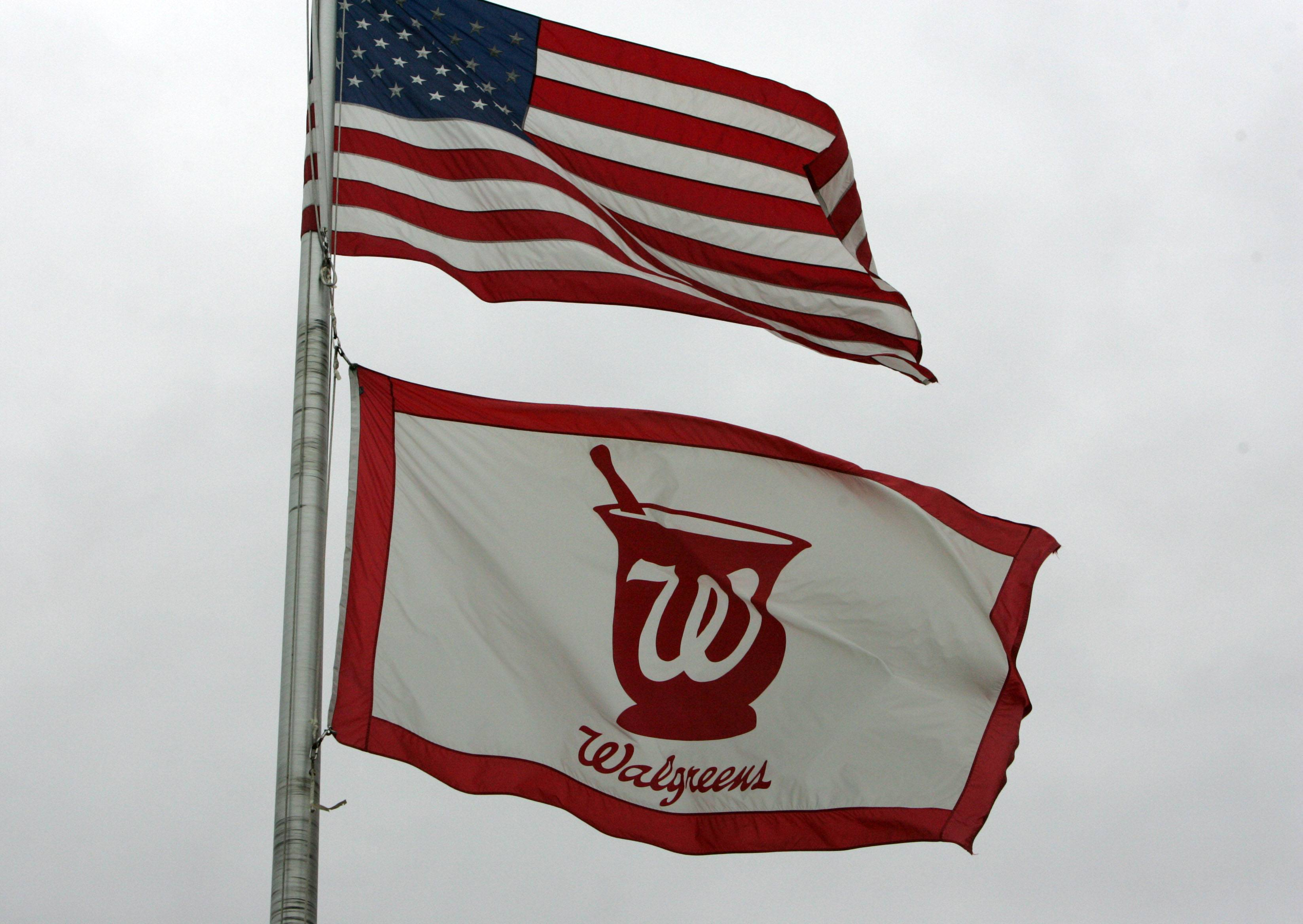 Walgreen corporate headquarters flag with the American flag in Deerfield.