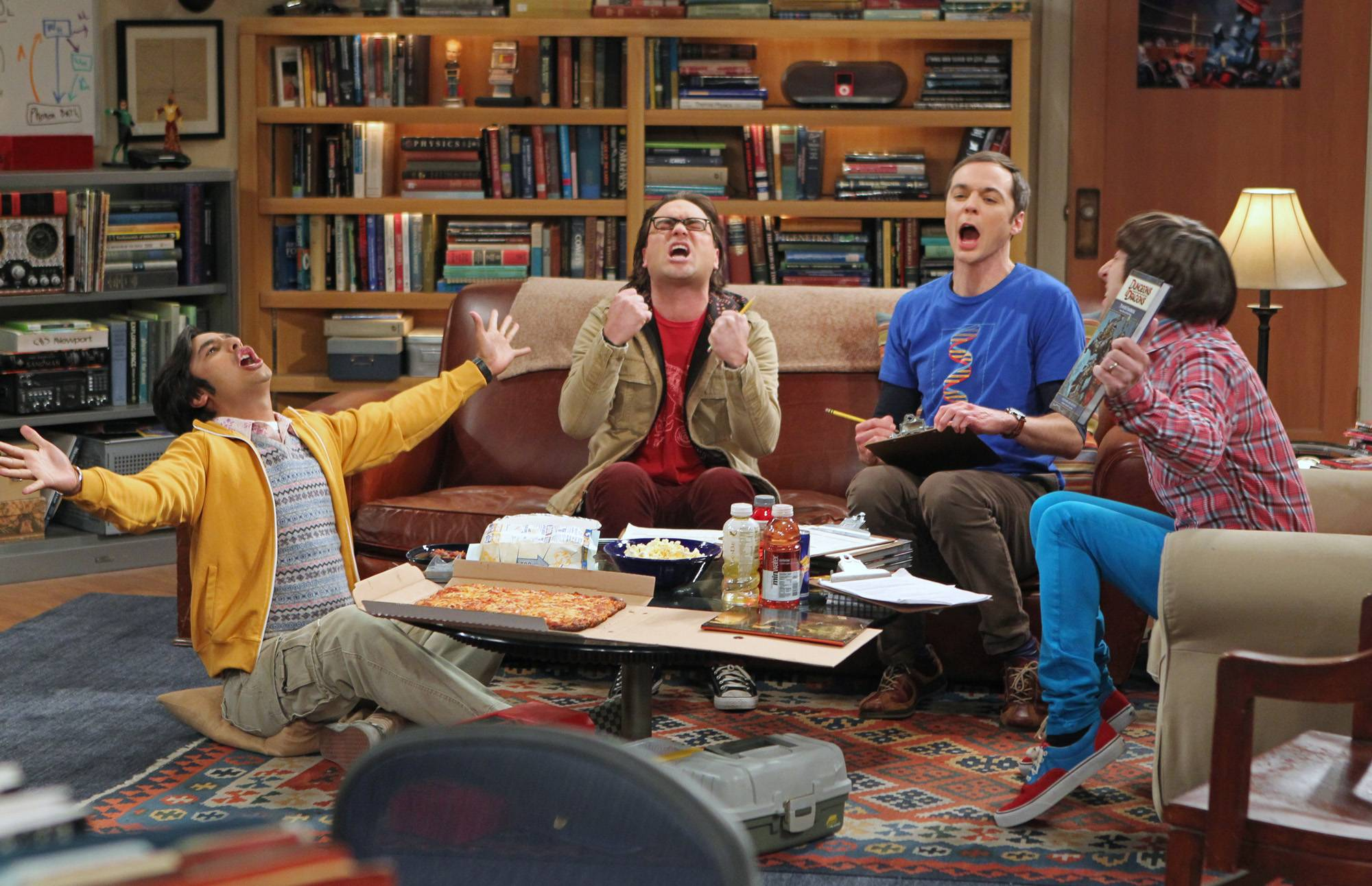 "Fom left,  Kunal Nayyar, Johnny Galecki, Jim Parsons and Simon Helberg in a scene from ""The Big Bang Theory."" The studio that produces ""The Big Bang Theory"" said it has reached contract deals with the sitcom's cast and the show will begin production Wednesday for the new season."