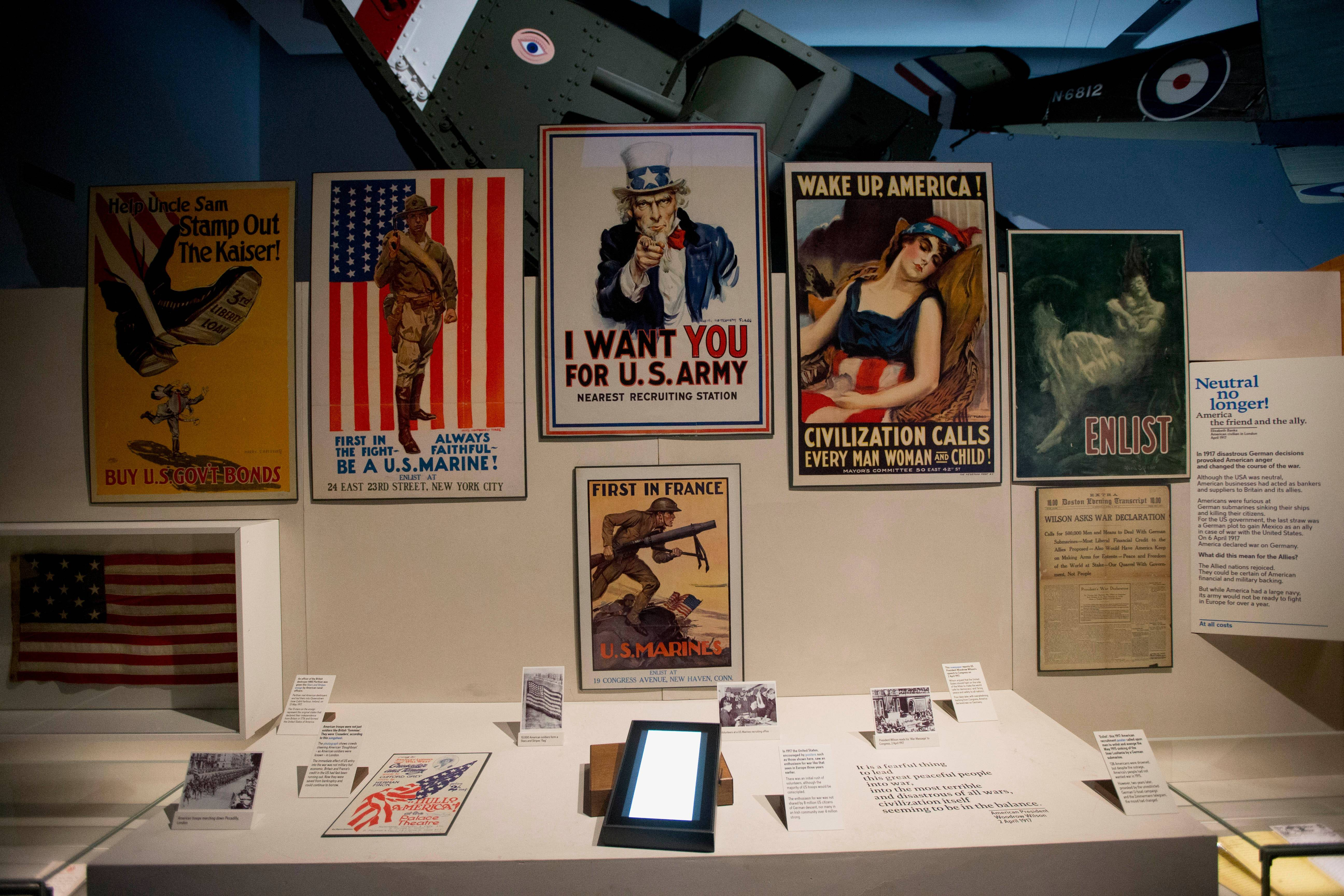 "U.S. World War I recruitment posters are part of an exhibit in the new ""First World War Galleries"" at the Imperial War Museum in London."
