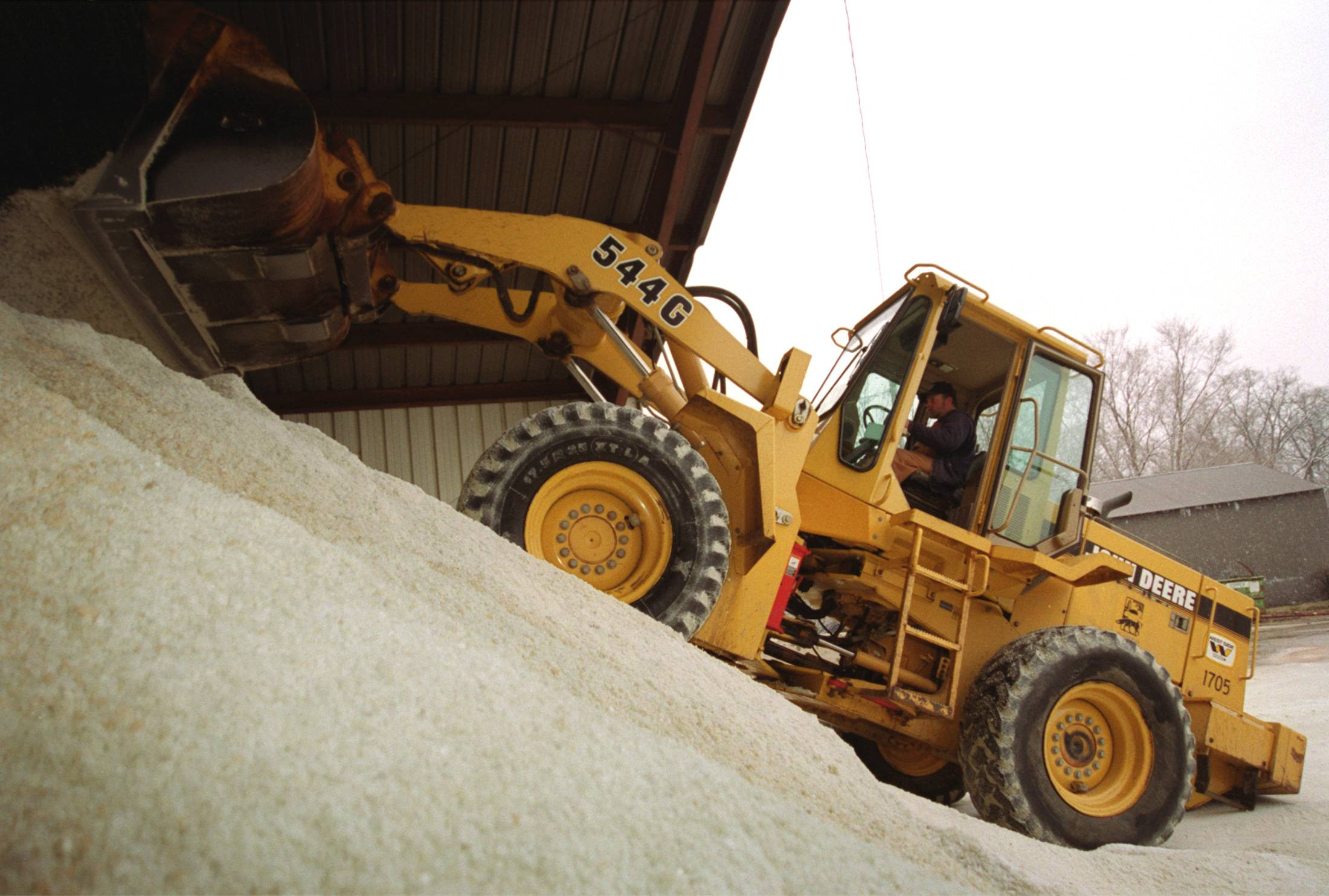 The main salt dome on 7th Avenue in St. Charles, and others, are nearly empty after a harsh winter.