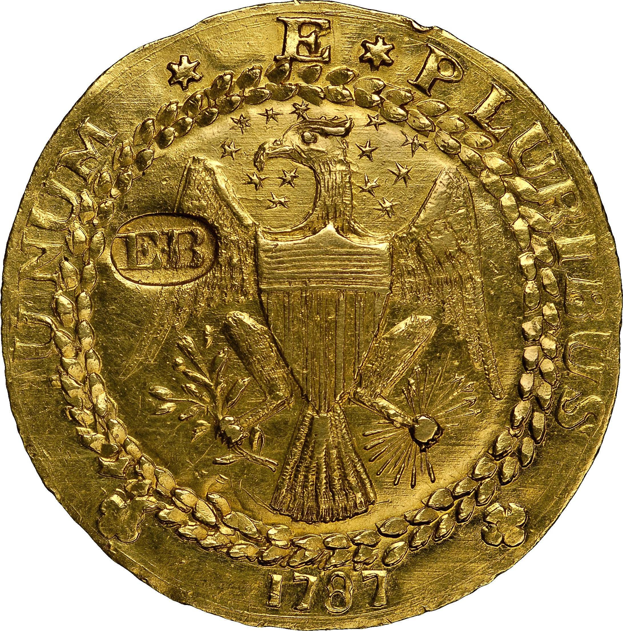 A Brasher Doubloon, the first gold coin made for the United States in 1787 by George Washington's New York City neighbor, goldsmith Ephraim Brasher, is insured for $10 million for its display at the World's Fair of Money in Rosemont.