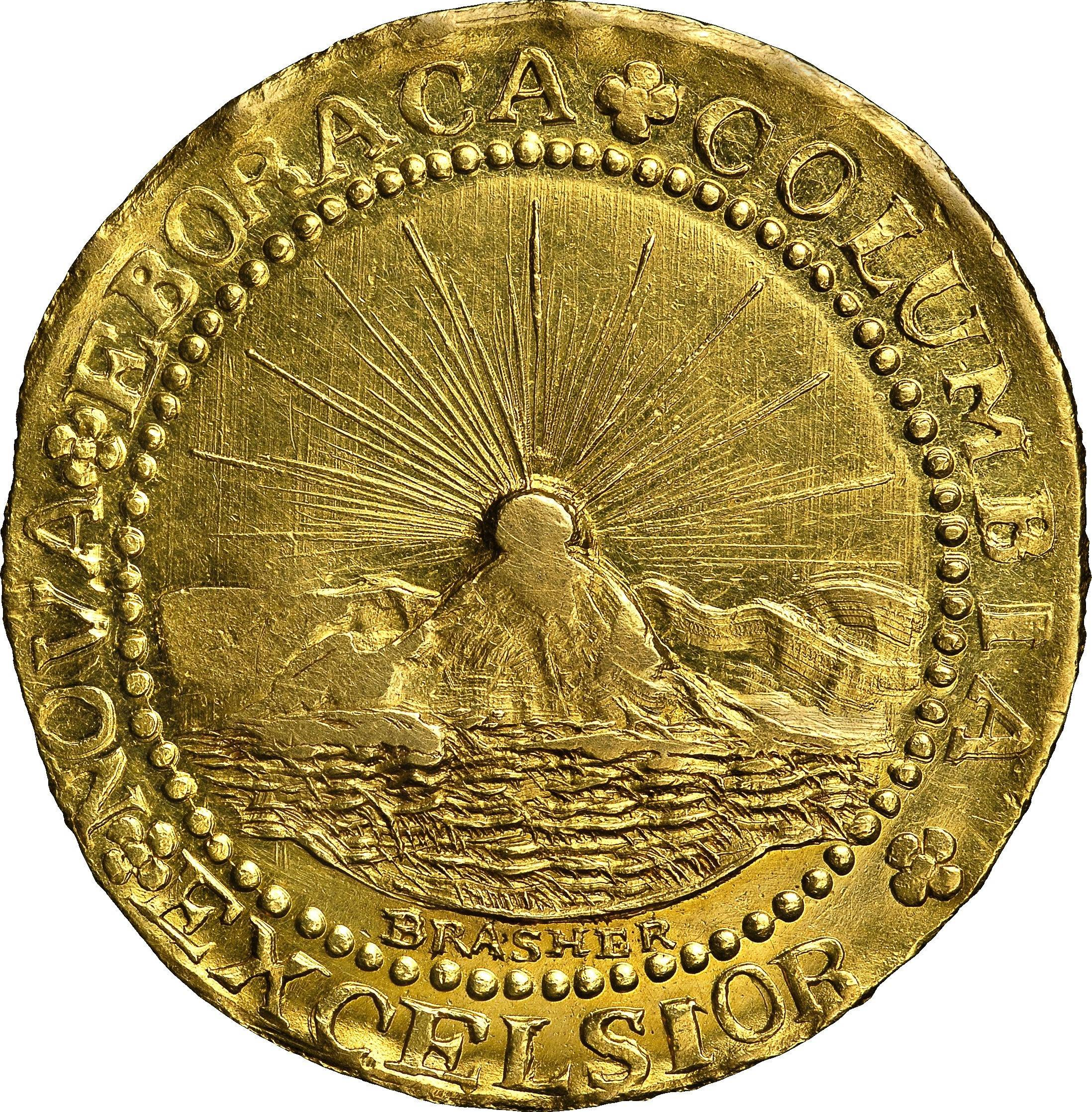 This is the reverse side of a Brasher Doubloon, the first gold coin made for the United States in 1787.