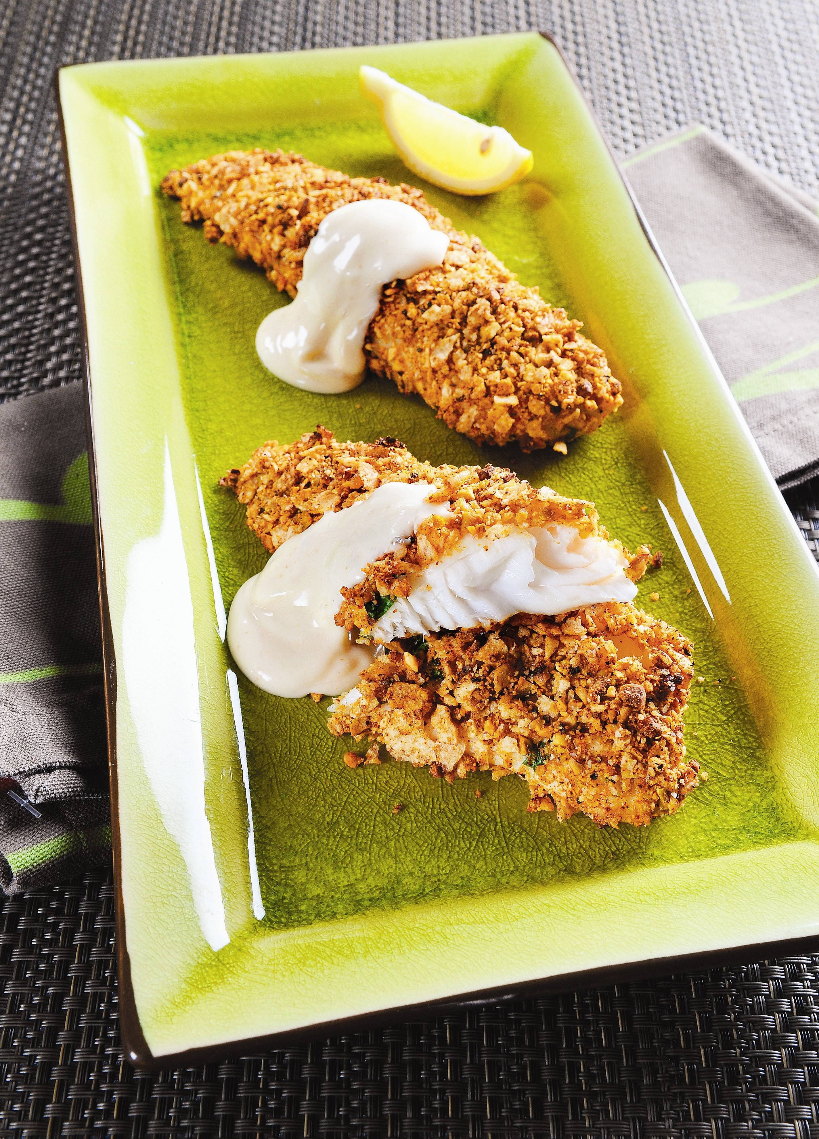 Pistachio & Whole-Grain Tortilla Crusted Tilapia with Chili Lime Sauce