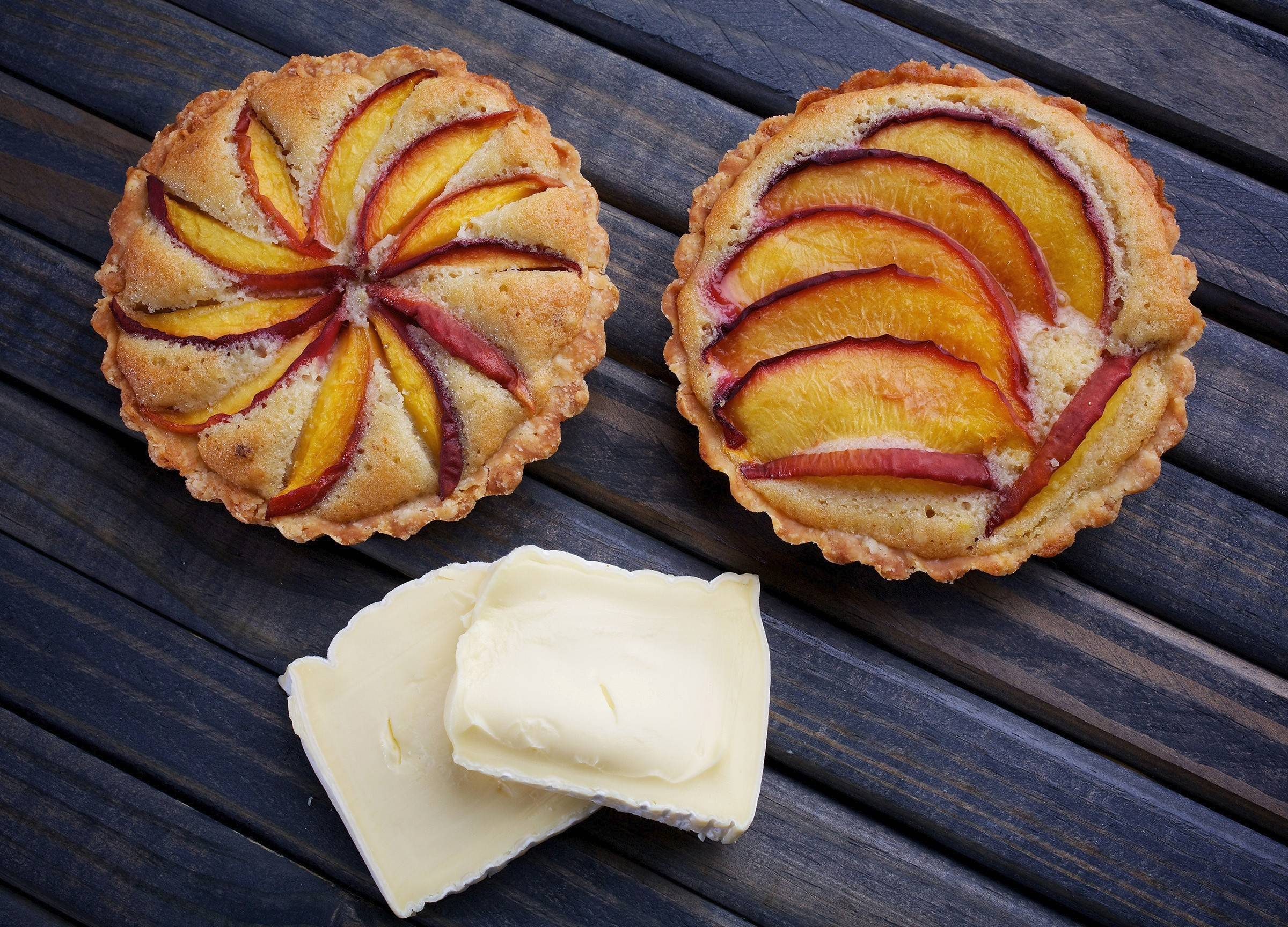 Peach and Pine Nut Tarts pair well with a triple-cream cheese like Explorateur.
