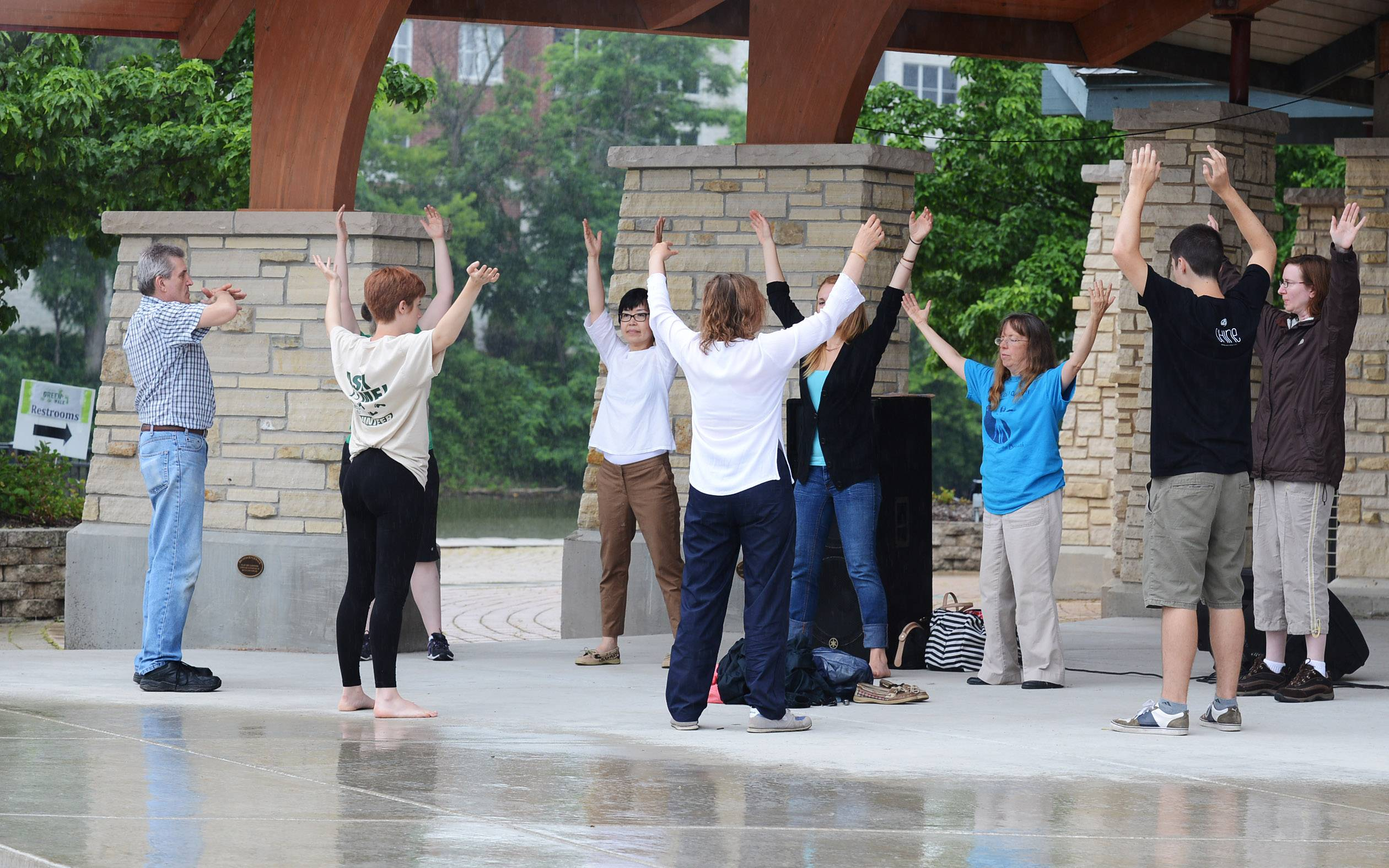 Renee Ryan of the Light Heart Center, located in Winfield, leads a Tai Chi class in the Peg Bond Center at last year's Batavia Green Walk, which is now the Batavia Green Fair on the Fox.