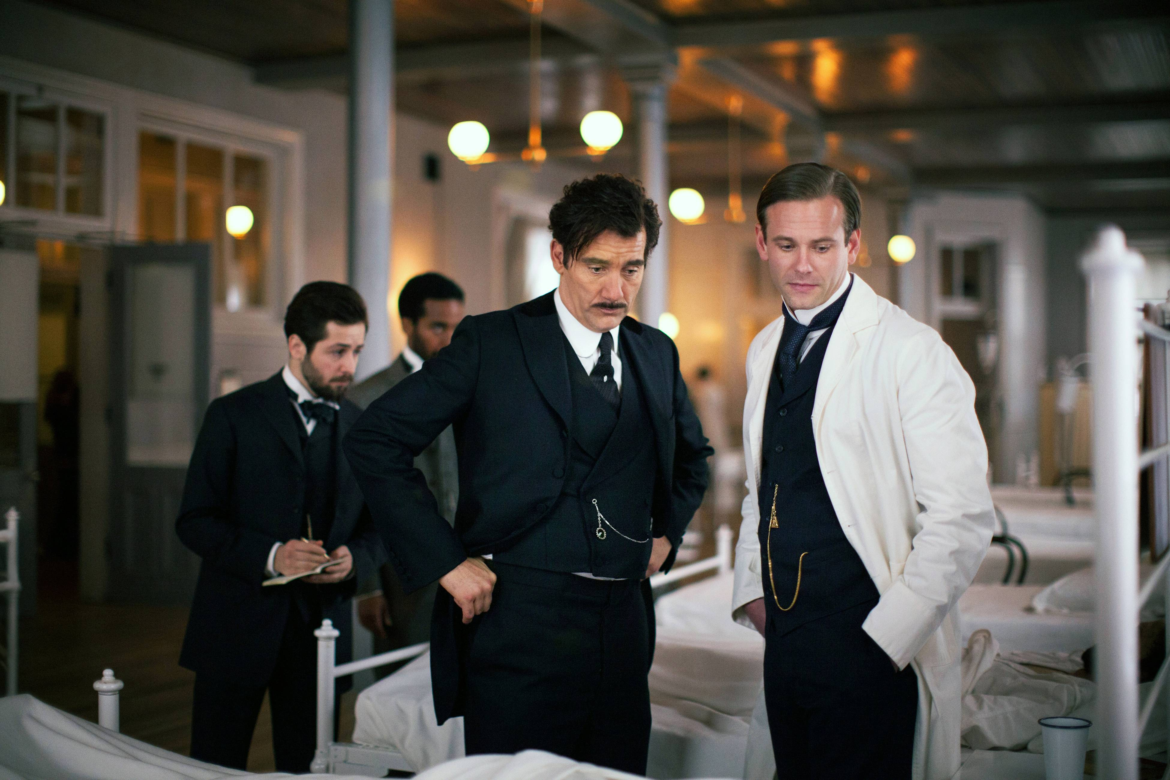 "Clive Owen, center, and Eric Johnson star in ""The Knick,"" a 10-episode hospital drama premiering at 9 p.m. Friday on Cinemax."