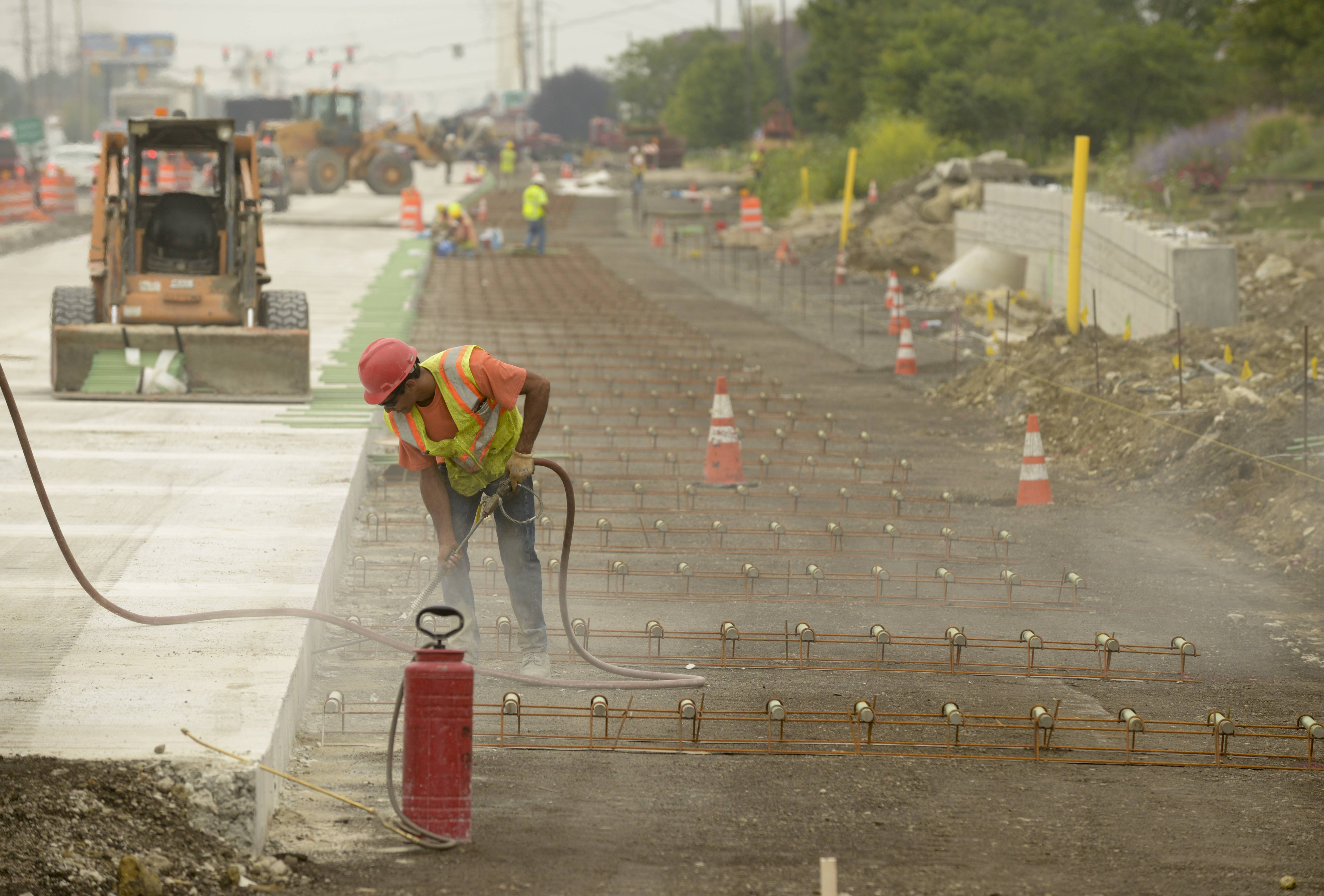 It's been almost a year since construction began on widening a 3.5-mile stretch of Route 59 in Naperville and Aurora, and permanent paving has just begun with crews now installing the rebar for the west portion of the southbound lanes near North Aurora Road.