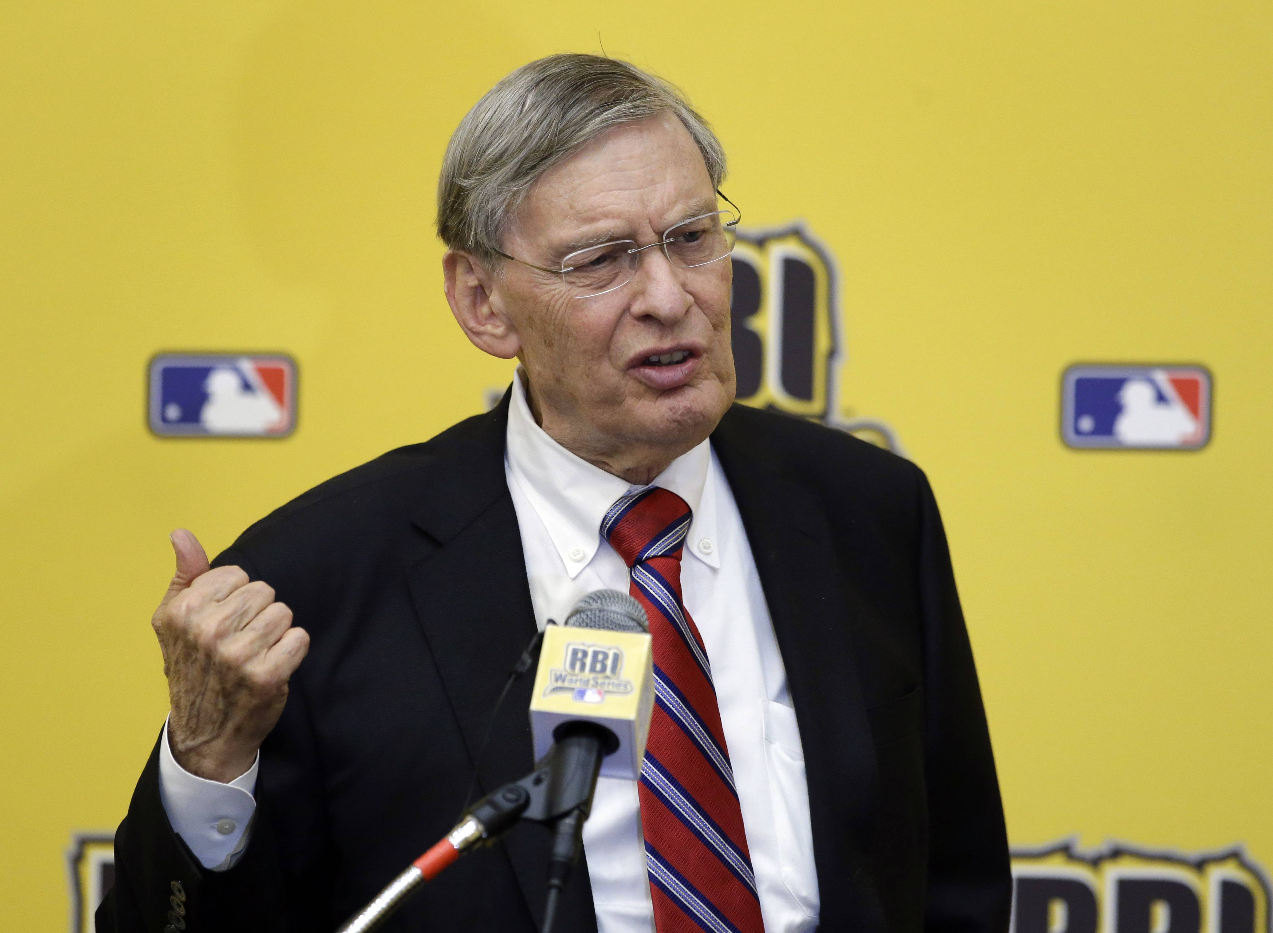 Baseball Commissioner Bud Selig speaks at the 2014 Reviving Baseball in Inner Cities World Series luncheon, Wednesday, Aug. 6, 2014, in Grapevine, Texas.