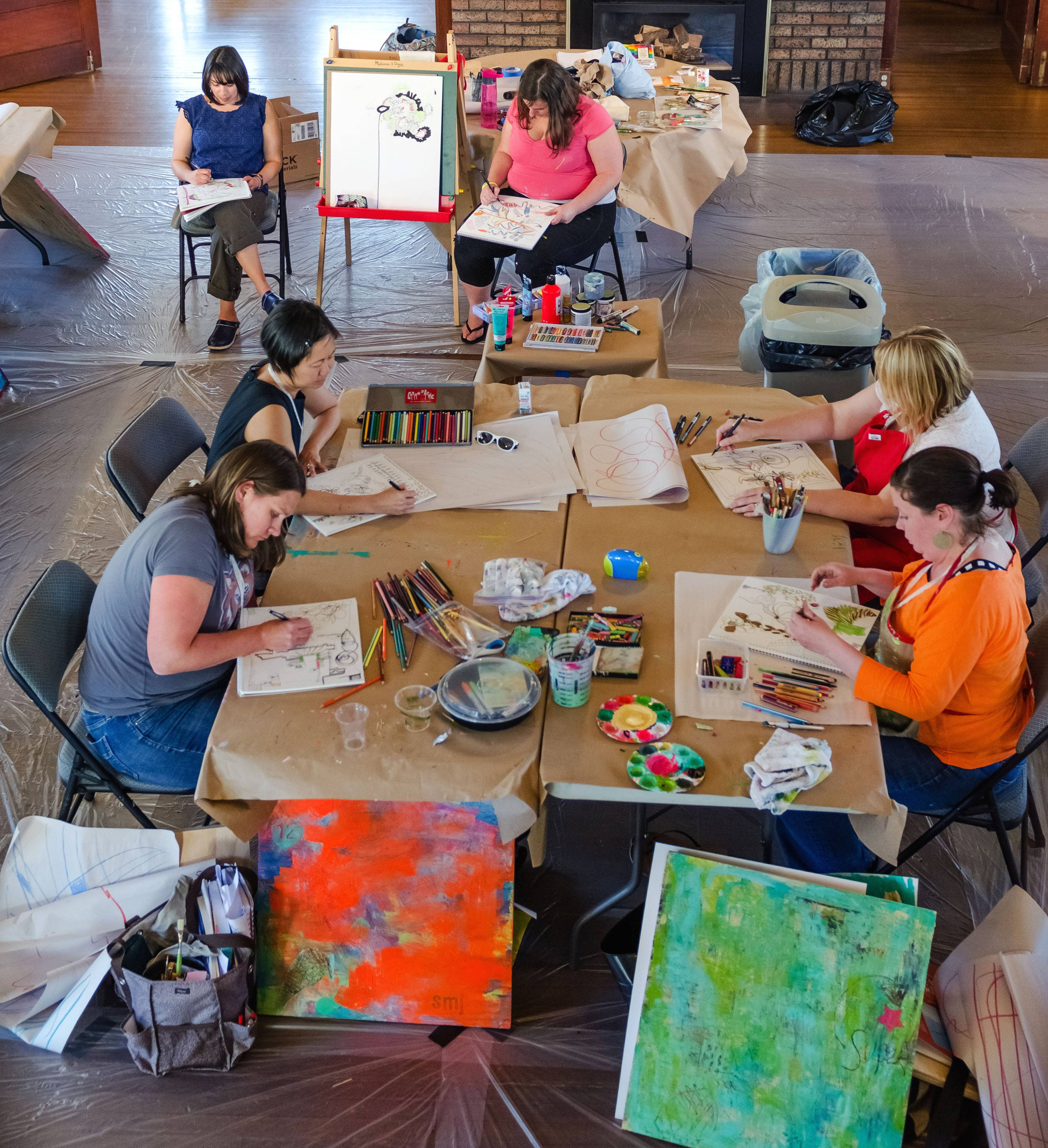 "Women attending a recent crafting retreat on art and painting at the historic Chautauqua hosted in Boulder, Colo., by The Makerie. ""It's hard to find creative time in our busy lives — to feel the empowerment of making something with our hands,"" says owner Ali DeJohn."