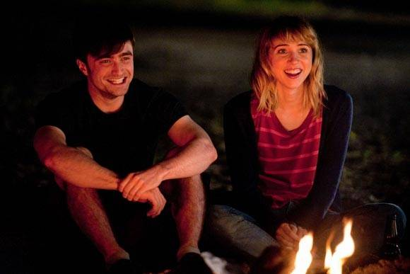 "Wallace (Daniel Radcliffe) meets Chantry (Zoe Kazan) and it's instant flames for him in the rom-com ""What If."""