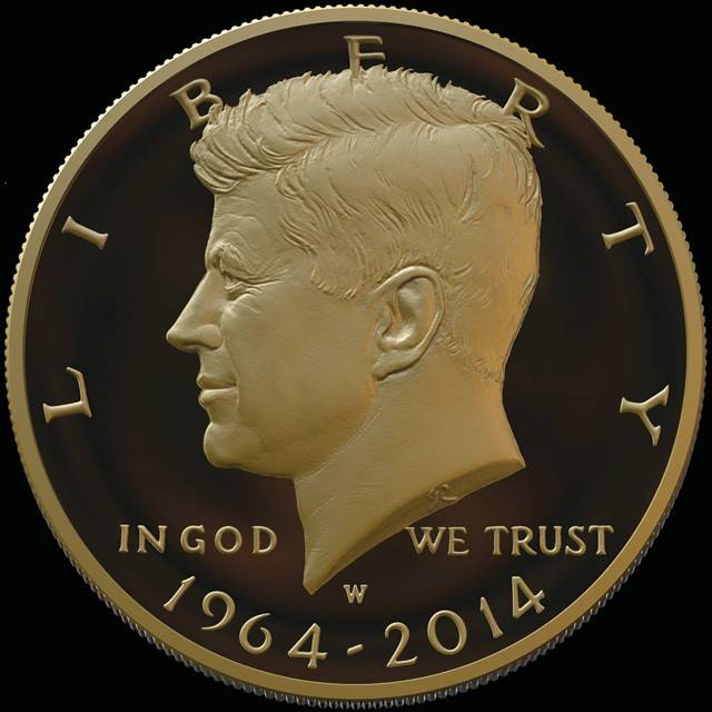 Sales of a new dual-dated 1964-2014 John F. Kennedy gold half dollar were suspended Thursday at the World's Fair of Money at the Donald E. Stephens Convention Center in Rosemont. Officials say the coins can still be purchased online at usmint.gov.