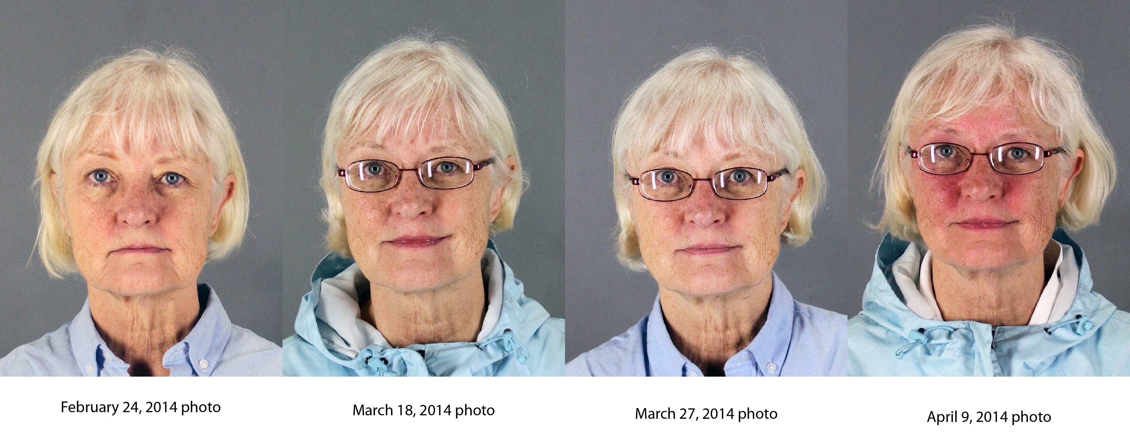 This combination of four 2014 booking photos released by the San Mateo County Sheriff's Office shows Marilyn Hartman. Federal law enforcement officials say Hartman tried at least three times to breach airport security before she was able to get through a checkpoint without a boarding pass at Mineta San Jose International Airport on Monday, Aug. 4, 2014.