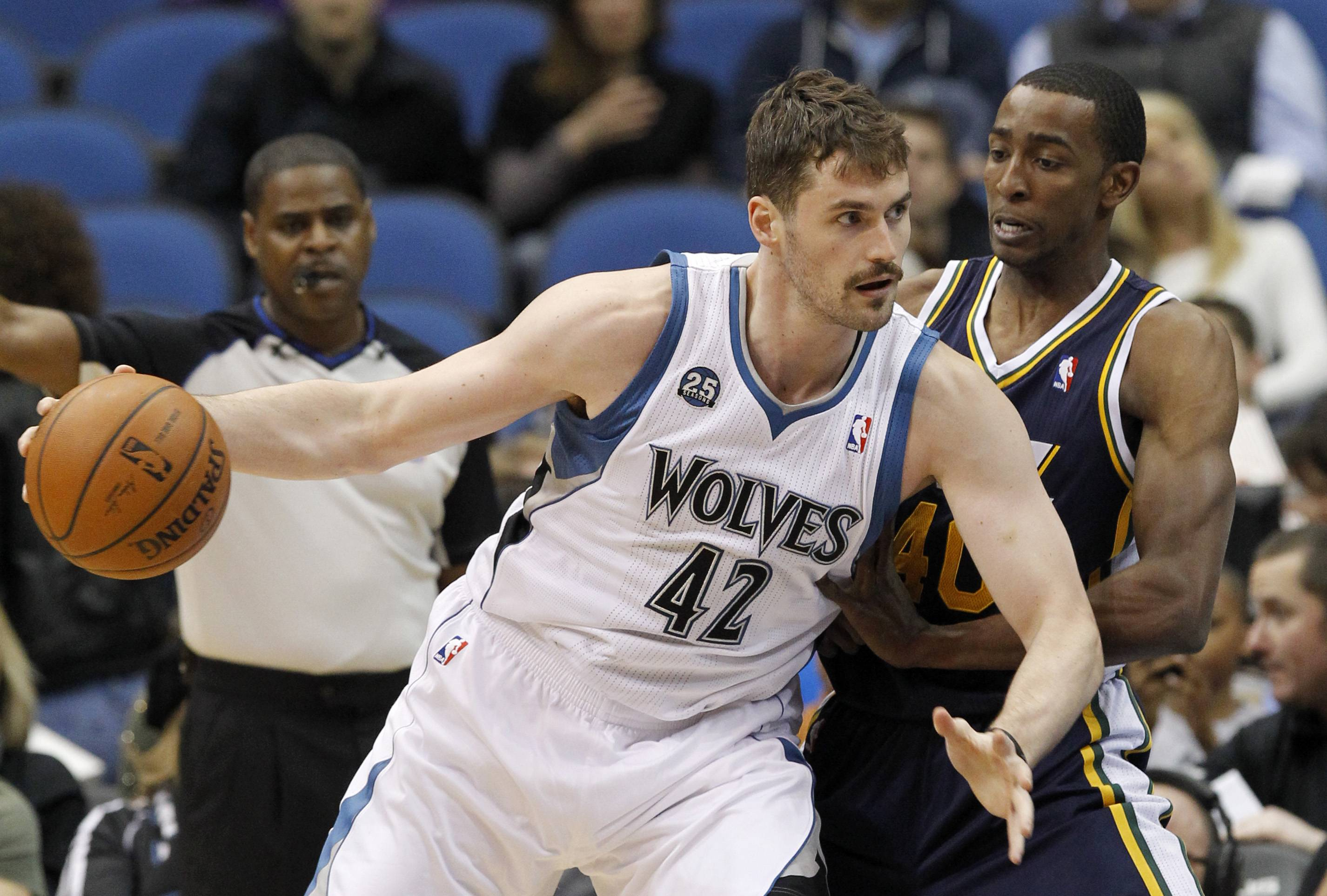 A deal is in place for Minnesota Timberwolves forward Kevin Love (42) to join LeBron James in Cleveland. The Cavaliers will give up Andrew Wiggins, Anthony Bennett and a future first-round draft pick for Love.
