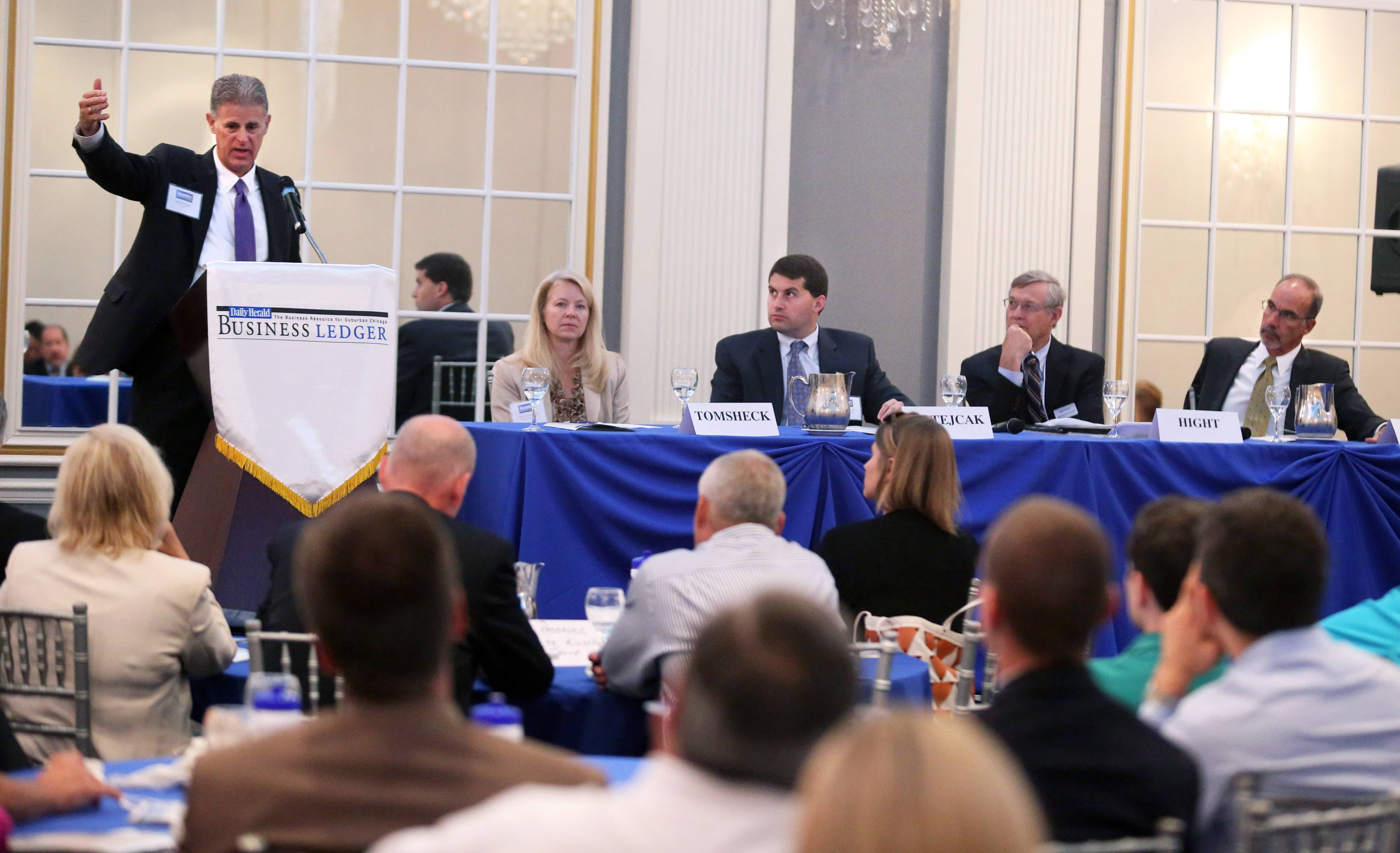 David Hight, partner at the law firm Ice Miller LLP, speaks at the Daily Herald Business Ledger Newsmakers' Forum on Family Business Thursday at European Crystal Banquets in Arlington Heights.