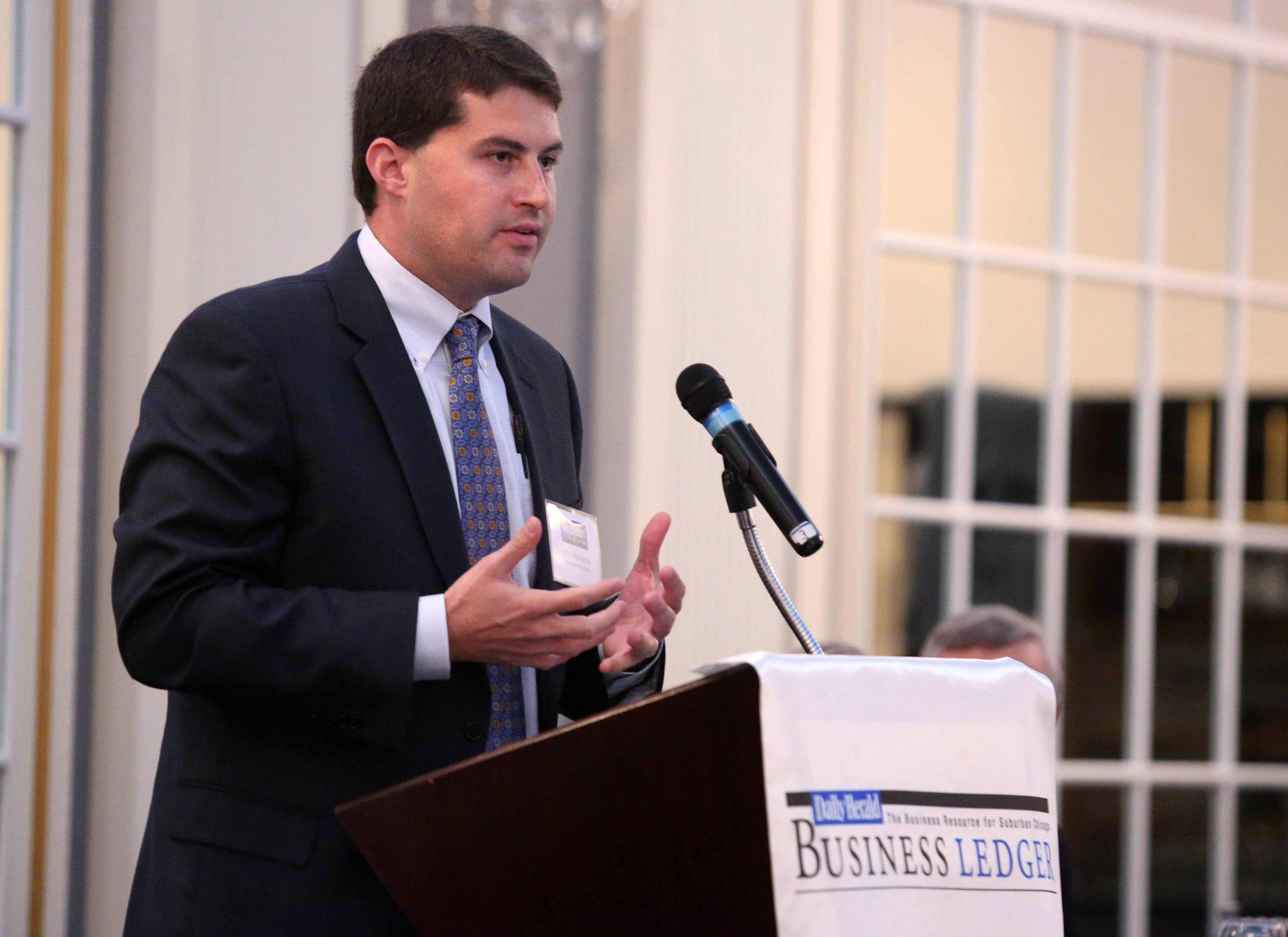 John Matejcak, vice president with First American Bank Wealth Management Group, speaks at the Daily Herald Business Ledger Newsmakers' Forum on Family Business Thursday at European Crystal Banquets in Arlington Heights.