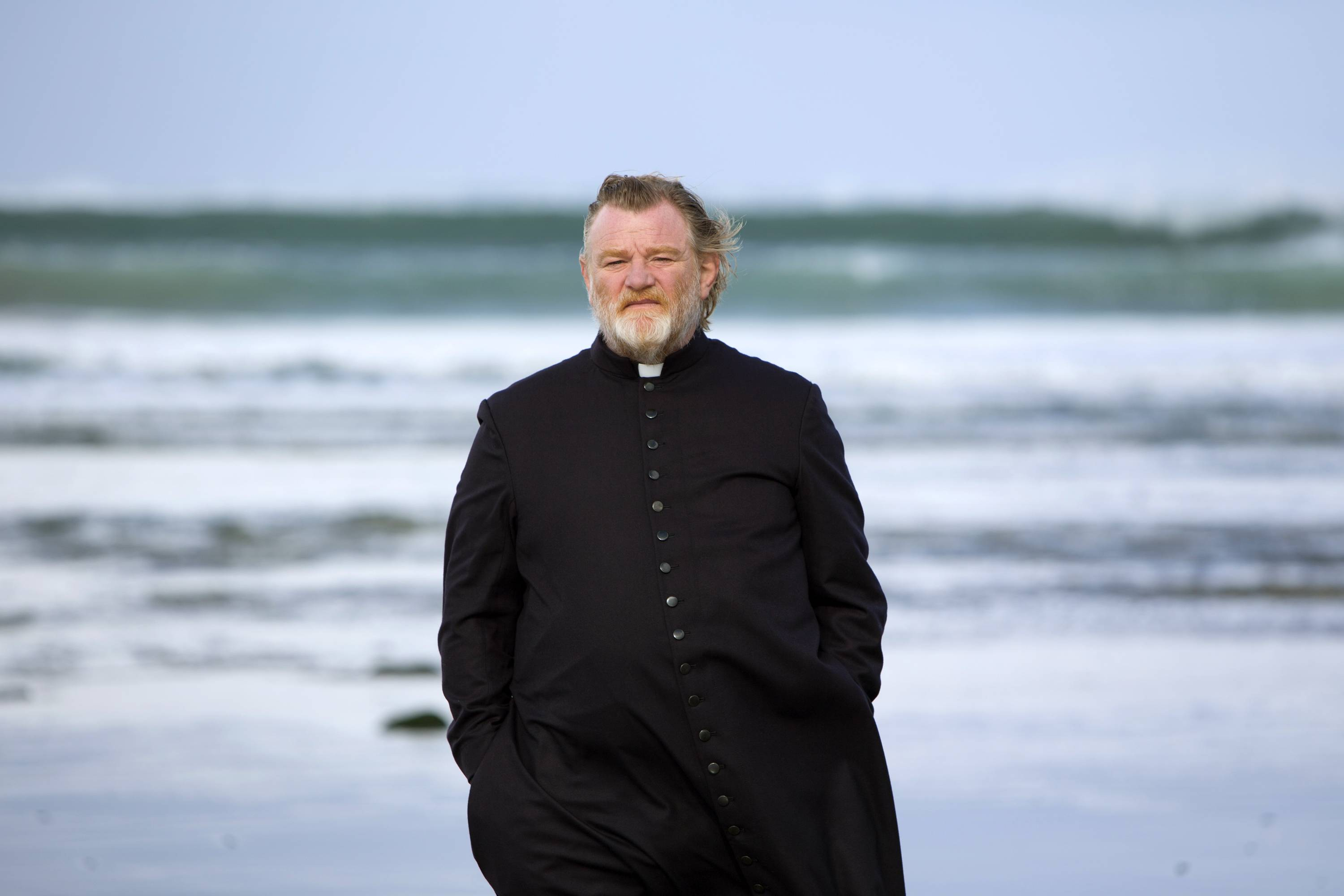 "Father James (Brendan Gleeson) faces a threat on his life in ""Calvary."""