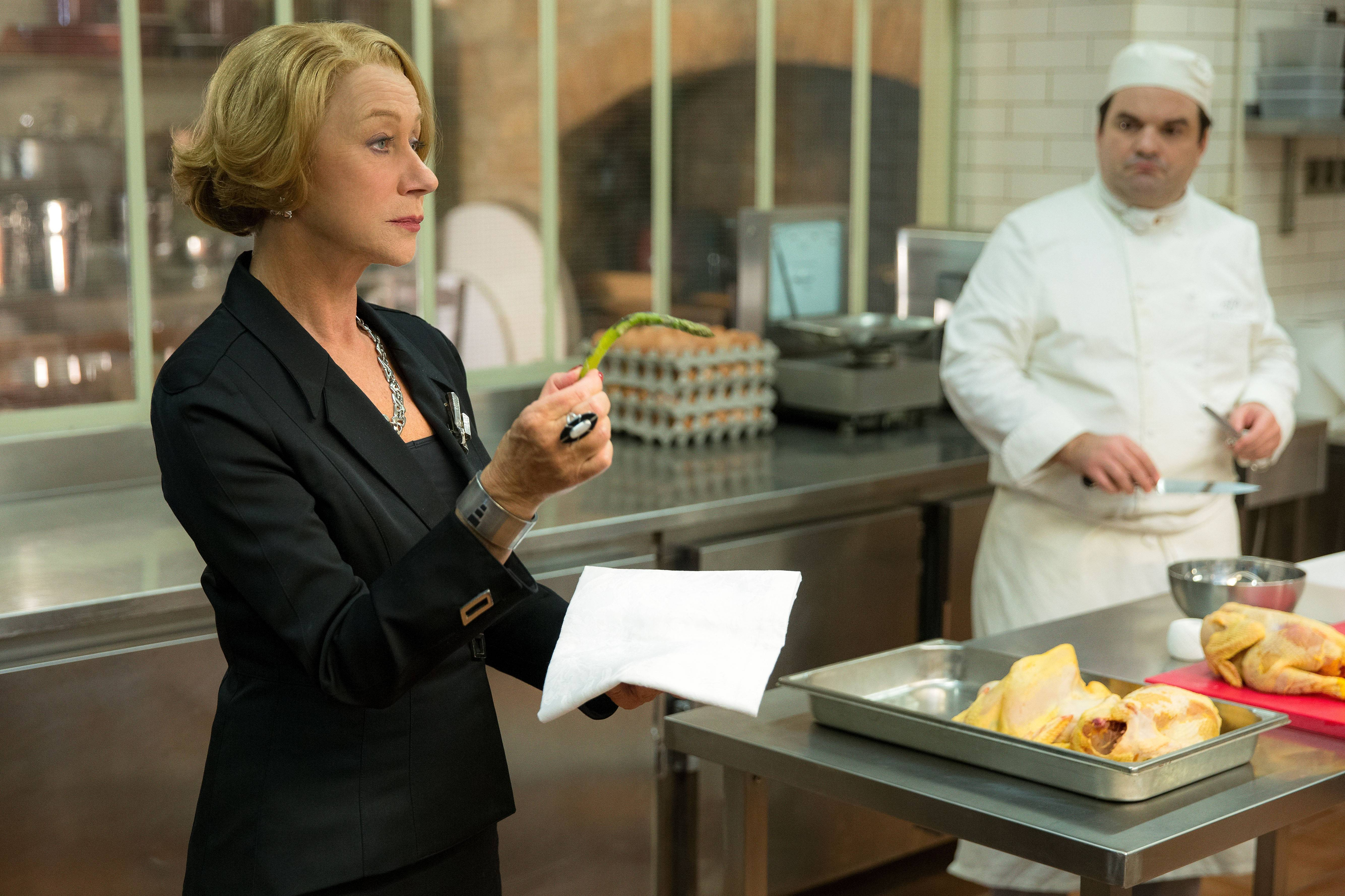 "Madame Mallory (Helen Mirren) demands perfection in her restaurant in ""The Hundred-Foot Journey."""