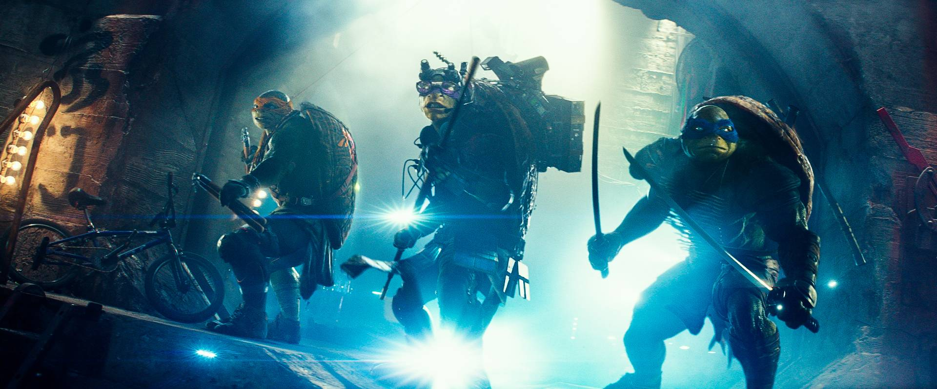"Michelangelo, Donatello and Leonardo return to action in ""Teenage Mutant Ninja Turtles."""
