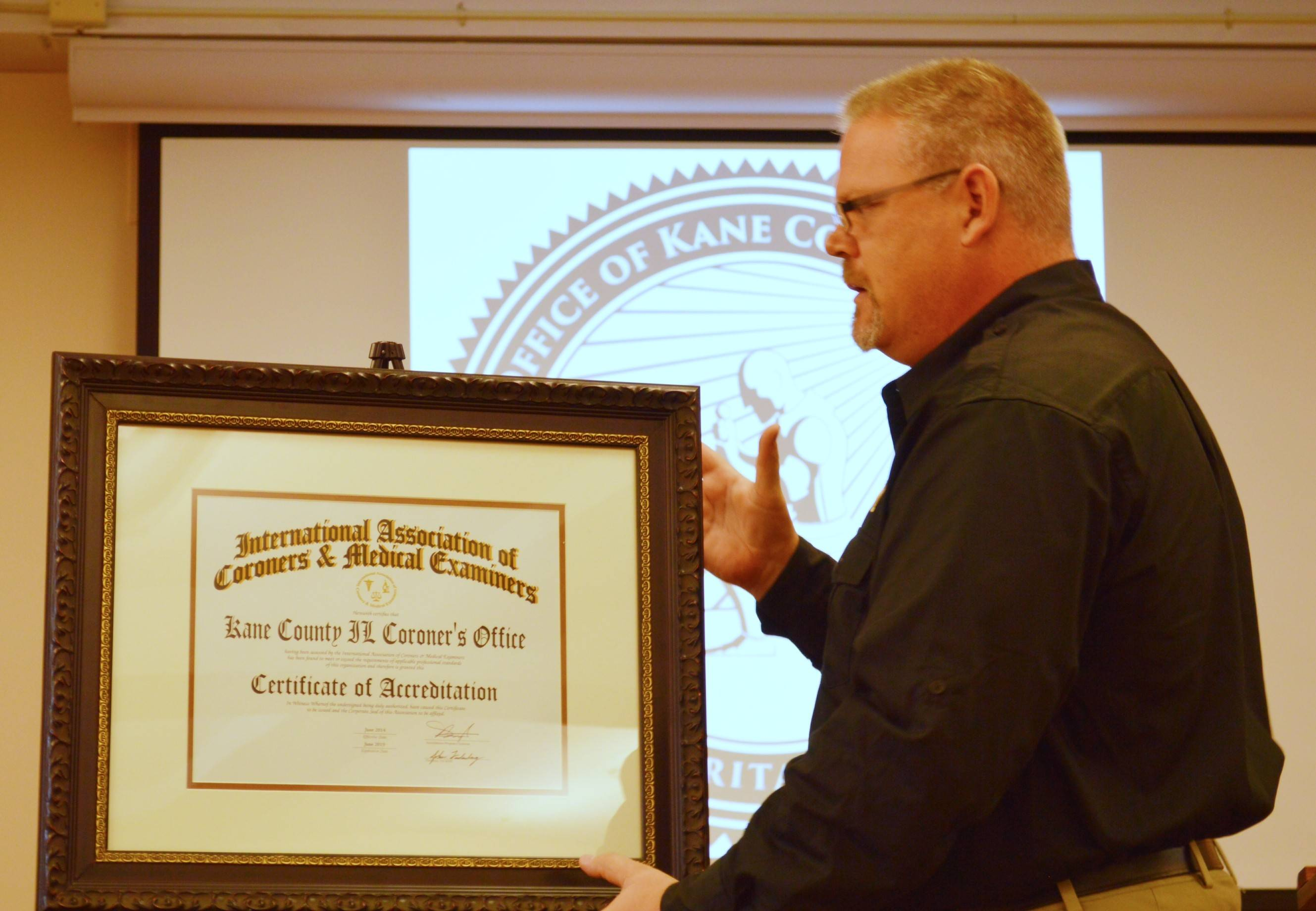 Kane County Coroner Rob Russell announced his office is the first in Illinois to receive national accreditation.