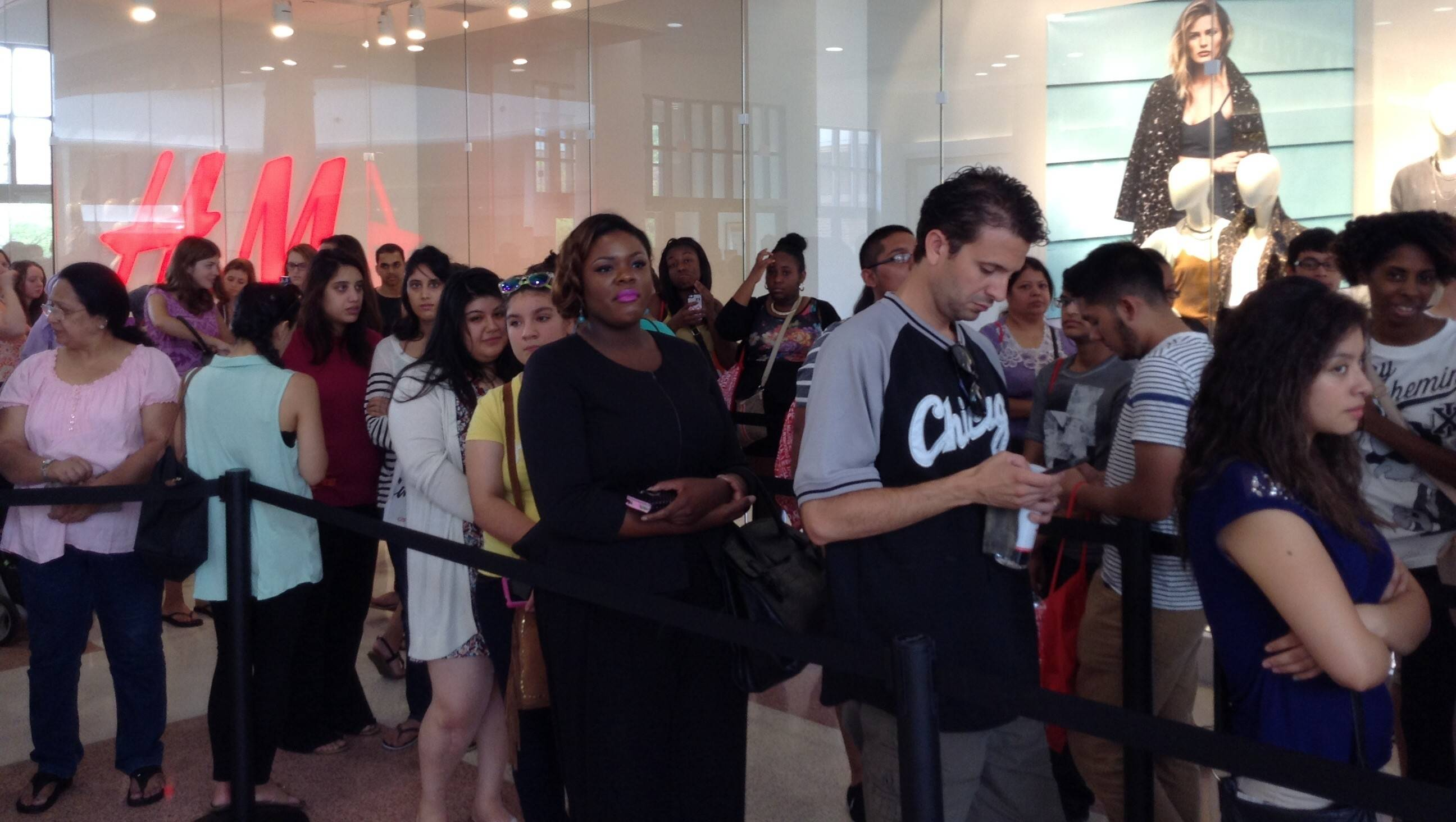 More than 150 customers stood in line outside the new H&M at Lombard's Yorktown Center Thursday morning to celebrate the store's grand opening and receive giveaways.