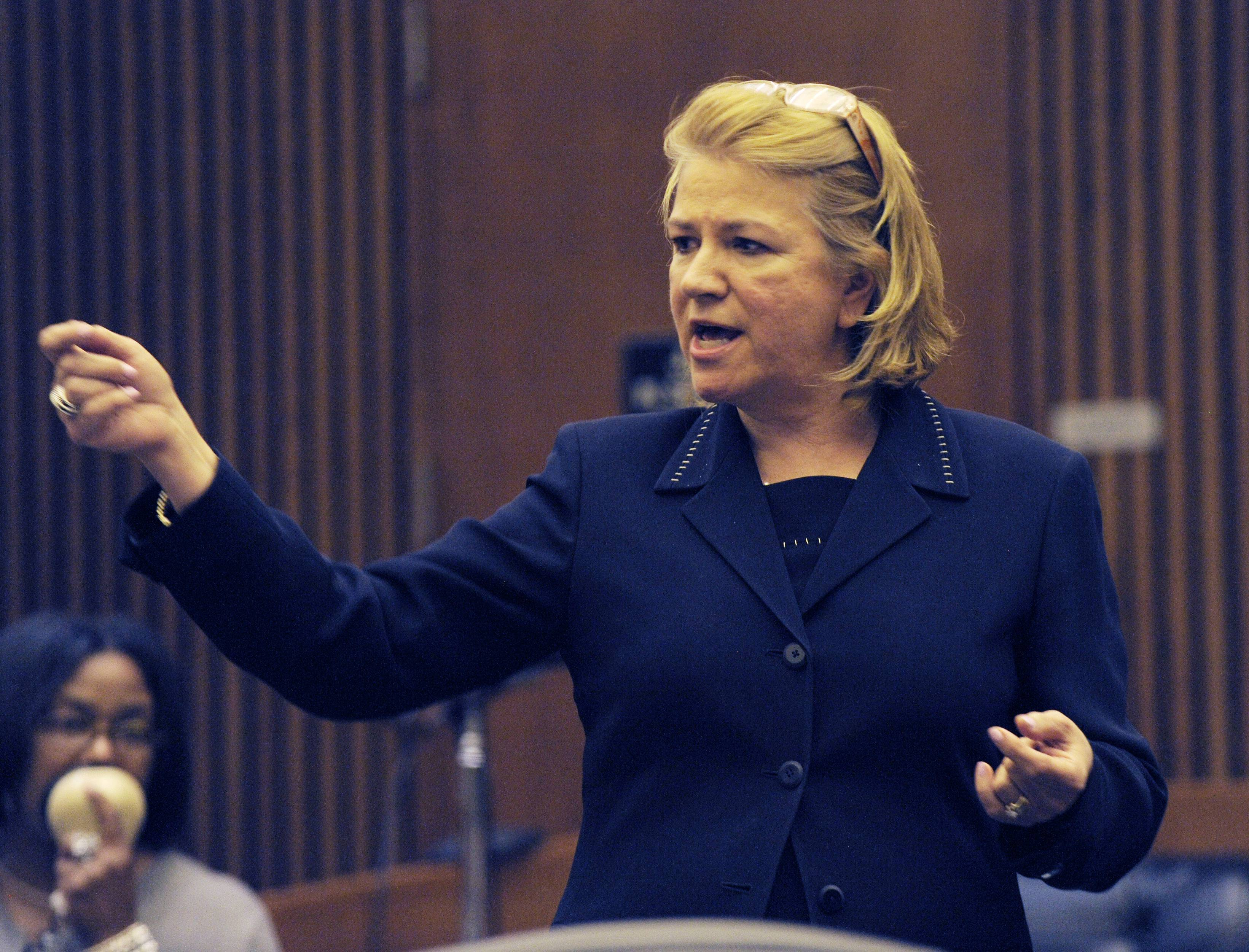 Asst. Prosecutor, Athina Siringas speaks during closing arguments in the Theodore Wafer case Wednesday, Aug. 6, 2014, in Detroit. The case of Wafer, a suburban Detroit homeowner who opened his front door and blasted an unarmed woman on his porch, has gone to the jury. Wafer is charged with second-degree murder and manslaughter in the death of 19-year-old Renisha McBride.