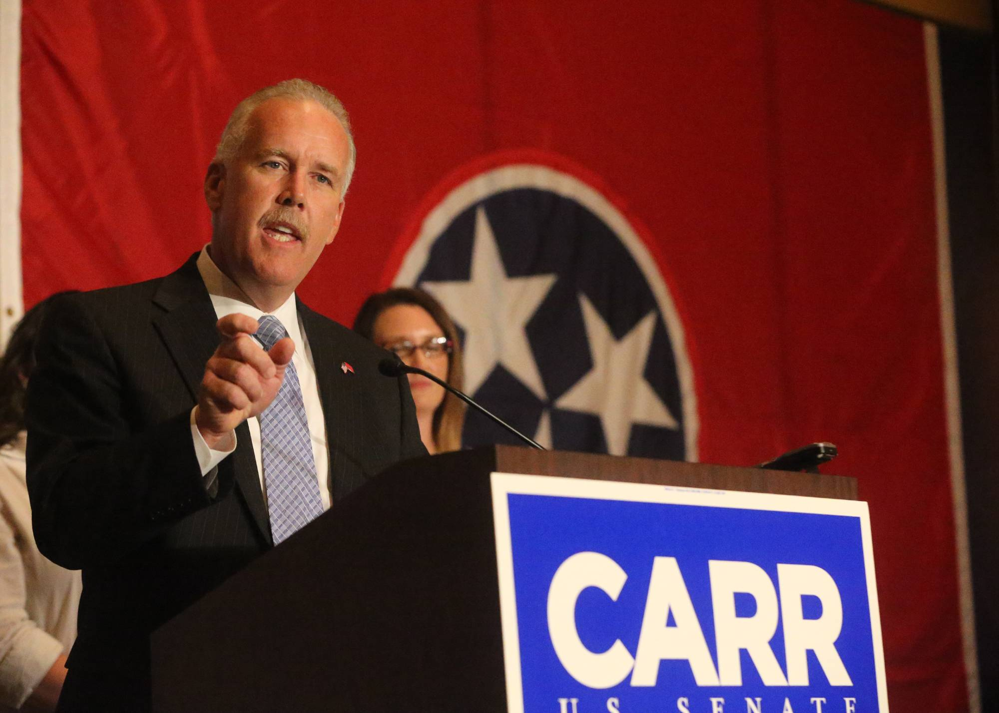 Joe Carr, concedes Thursday in the GOP primary for the U. S. Senate seat to Lamar Alexander at Carr's reception at the Embassy Suites in Murfreesboro, Tennessee on election night.