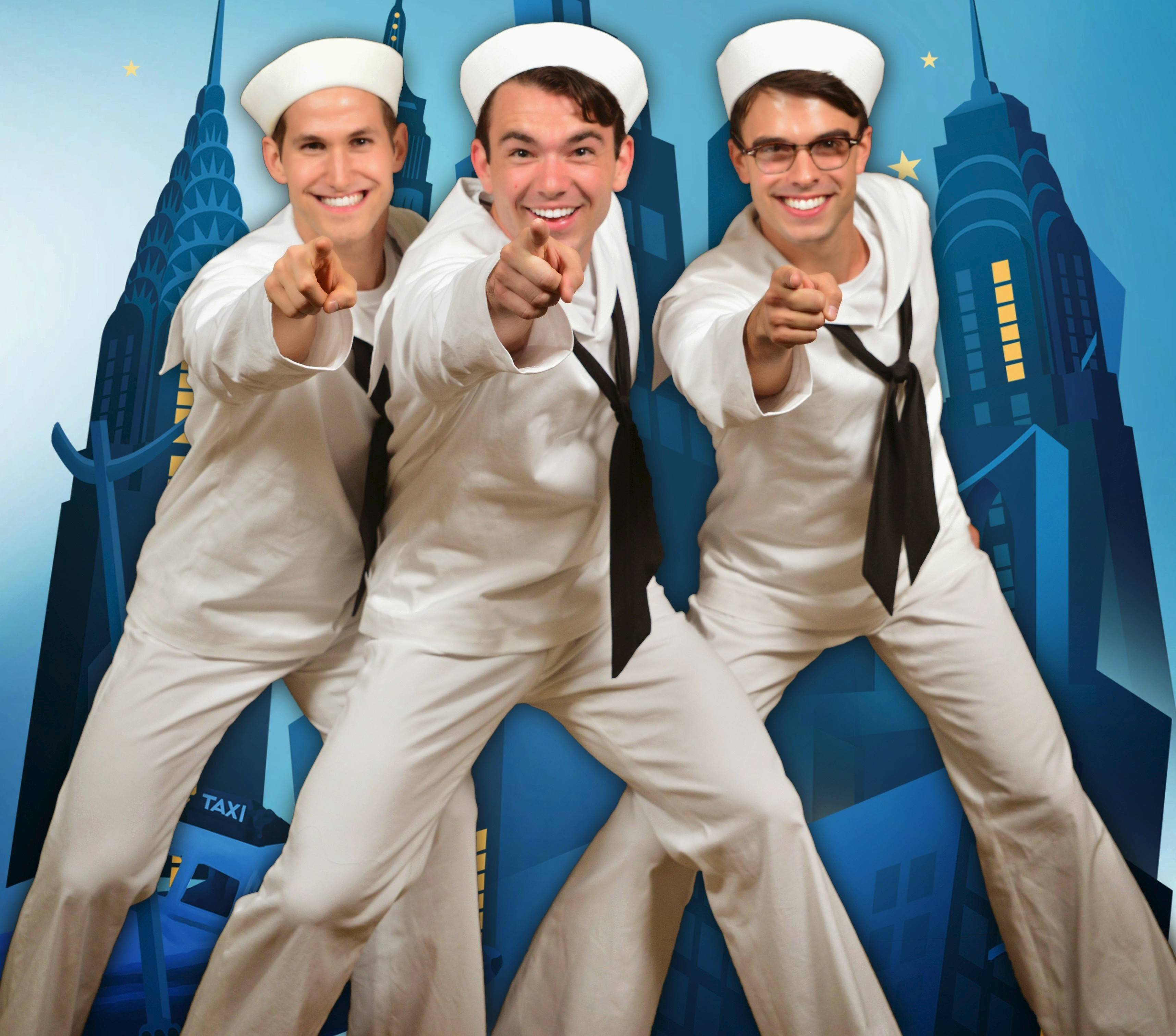 "Jeff Smith, Max Clayton and Seth Danner star in the Marriott Theatre's 70th anniversary production of Leonard Bernstein's 1944 Broadway musical ""On the Town."""