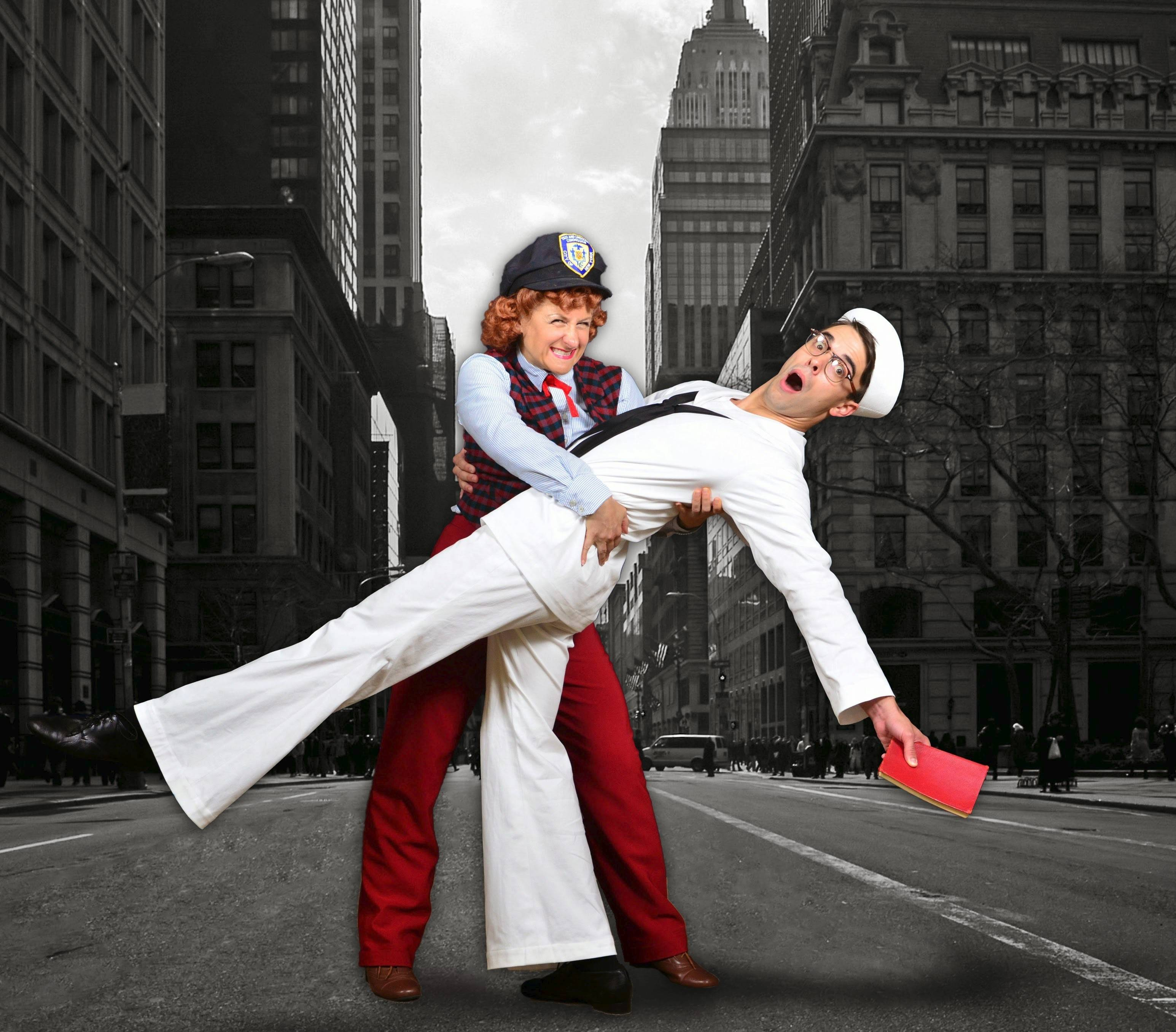"The taxi driver Hildy (Marya Grandy) lays claim to touristy sailor Chip (Seth Danner) in the Marriott Theatre's 70th anniversary production of Leonard Bernstein's 1944 Broadway musical ""On the Town."""